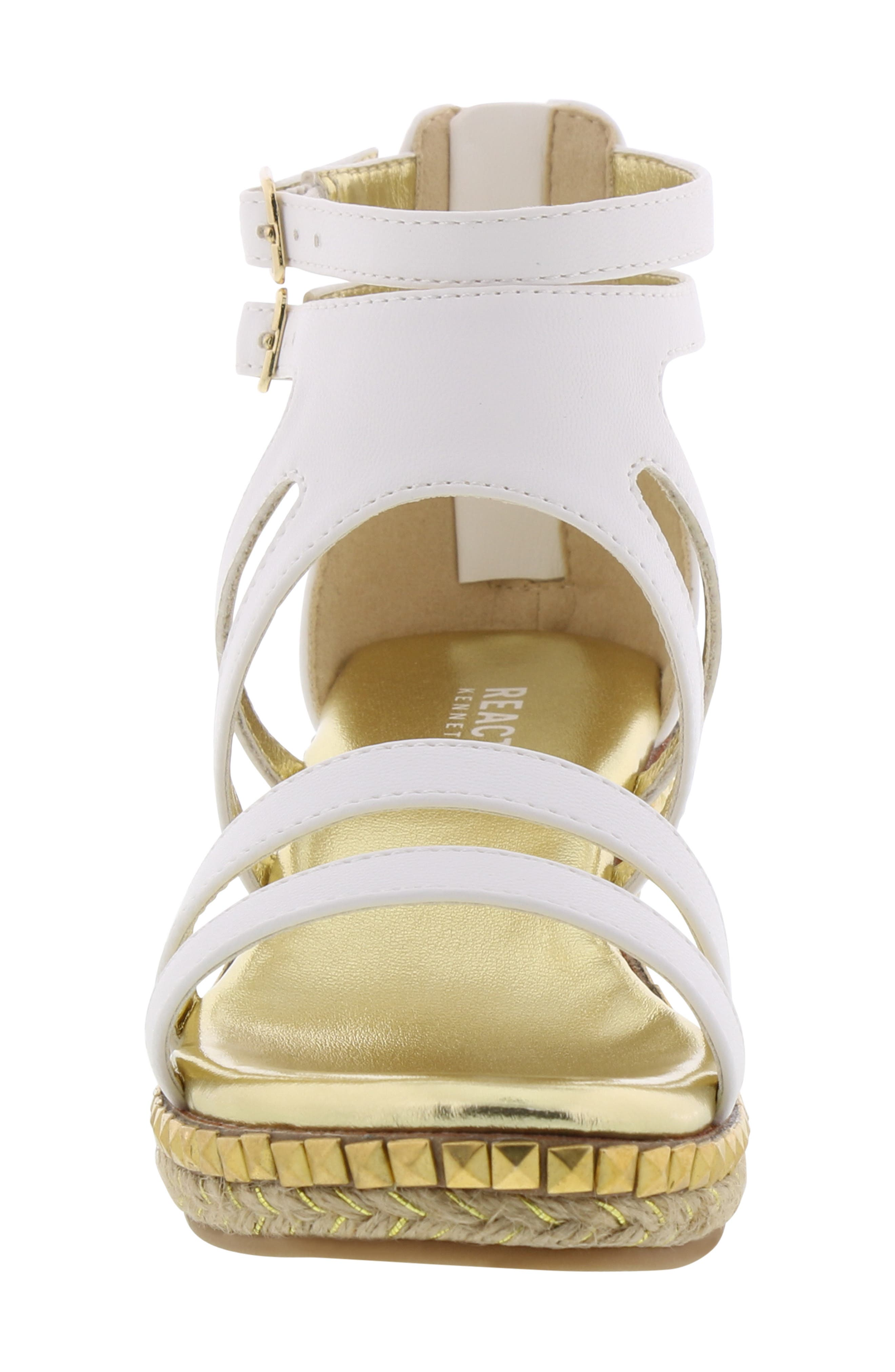 REACTION KENNETH COLE, Reed Splash Wedge Sandal, Alternate thumbnail 4, color, WHITE