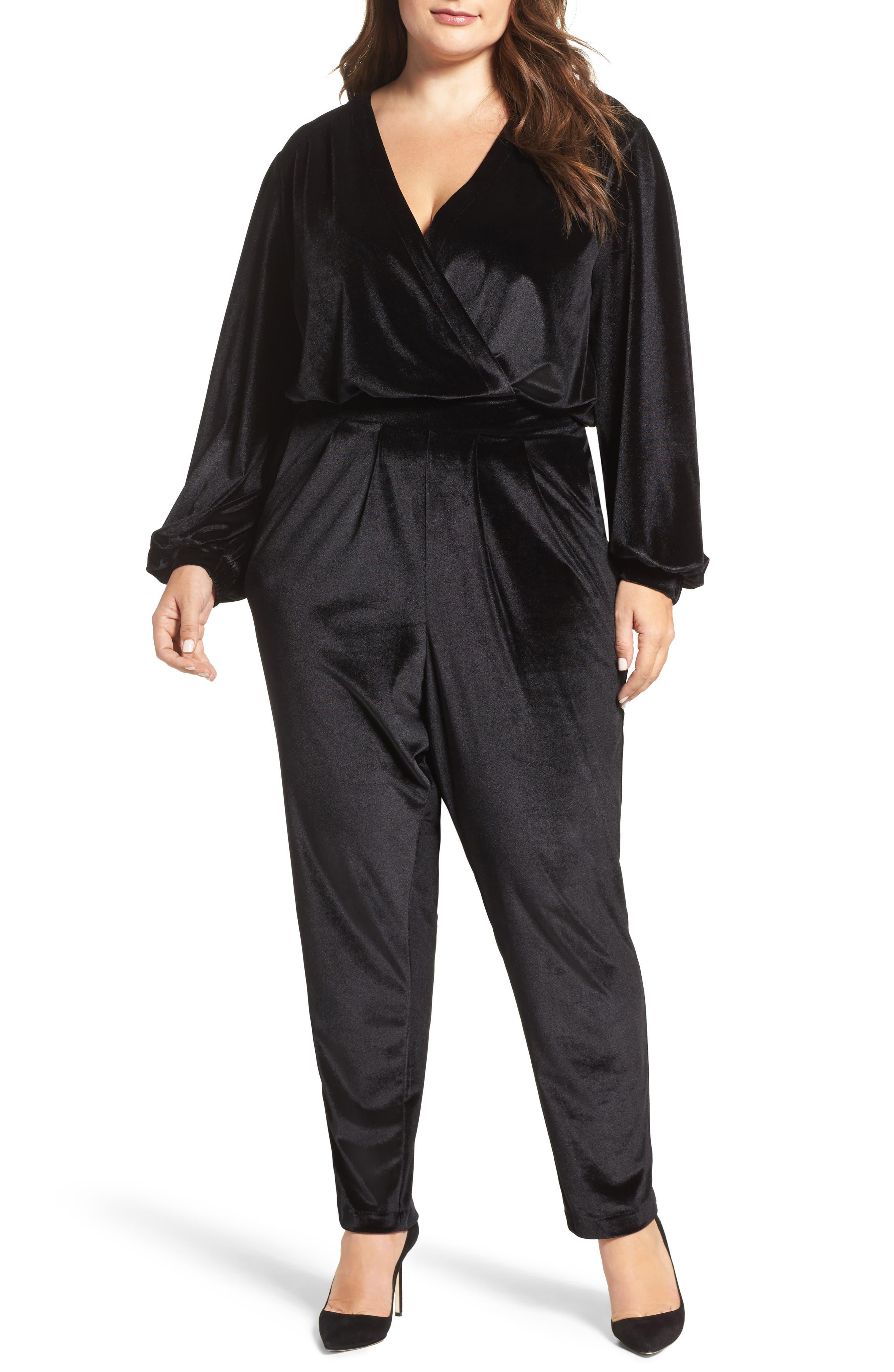 MELISSA MCCARTHY SEVEN7 Velvet Surplice Jumpsuit, Main, color, 001