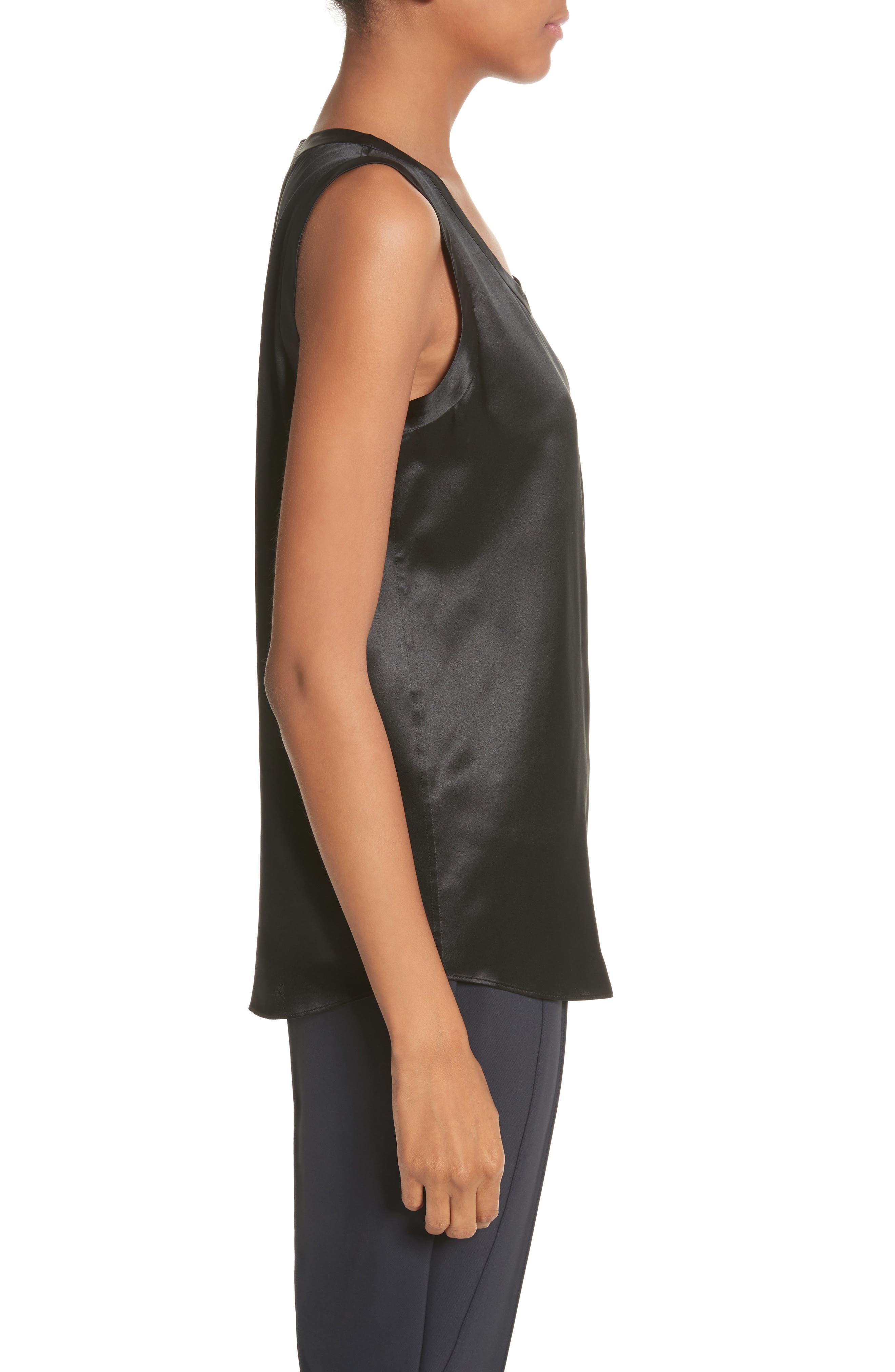 LAFAYETTE 148 NEW YORK, Perla Reversible Silk Blouse, Alternate thumbnail 3, color, BLACK