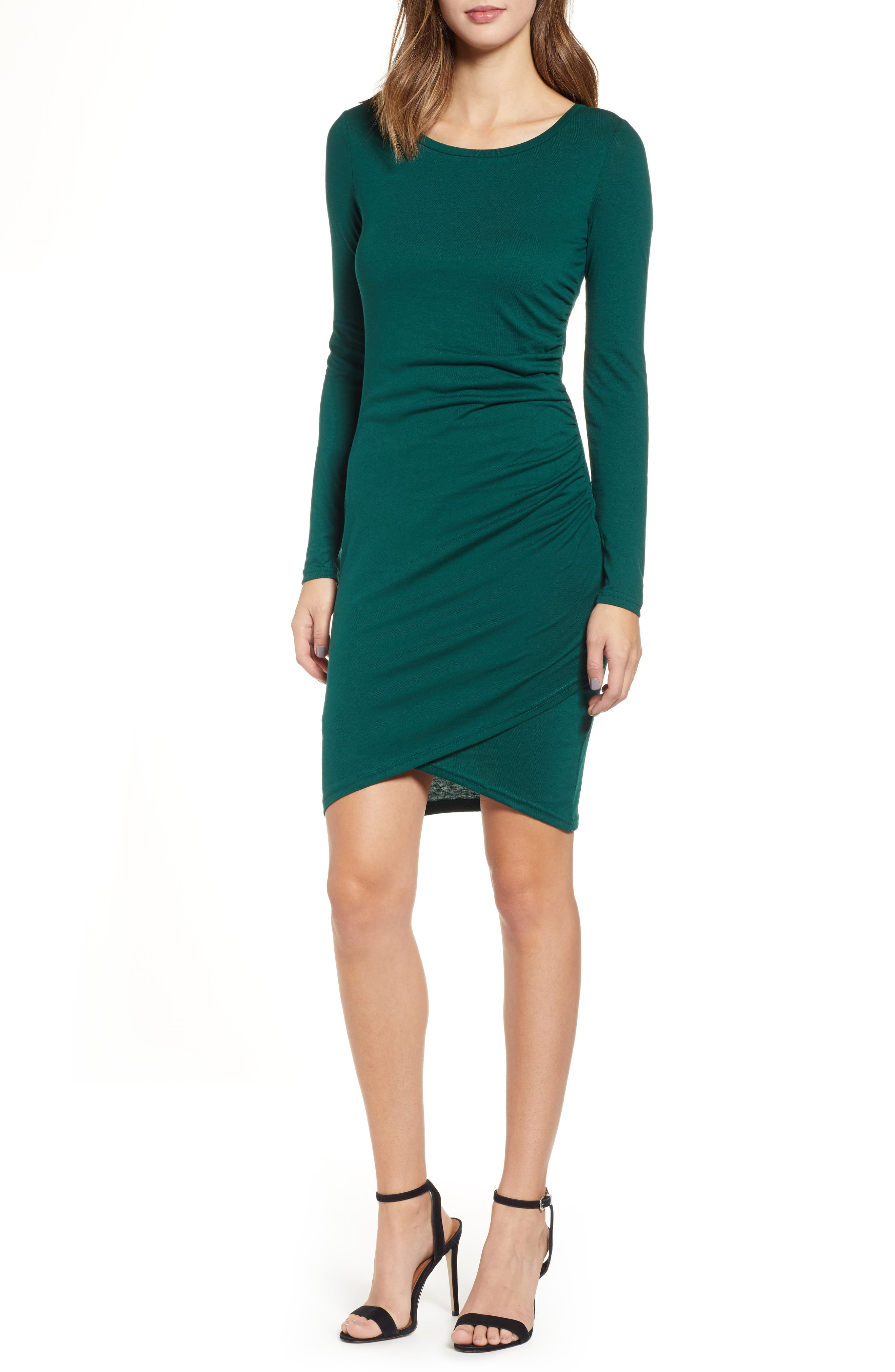 LEITH, Ruched Long Sleeve Dress, Main thumbnail 1, color, 302