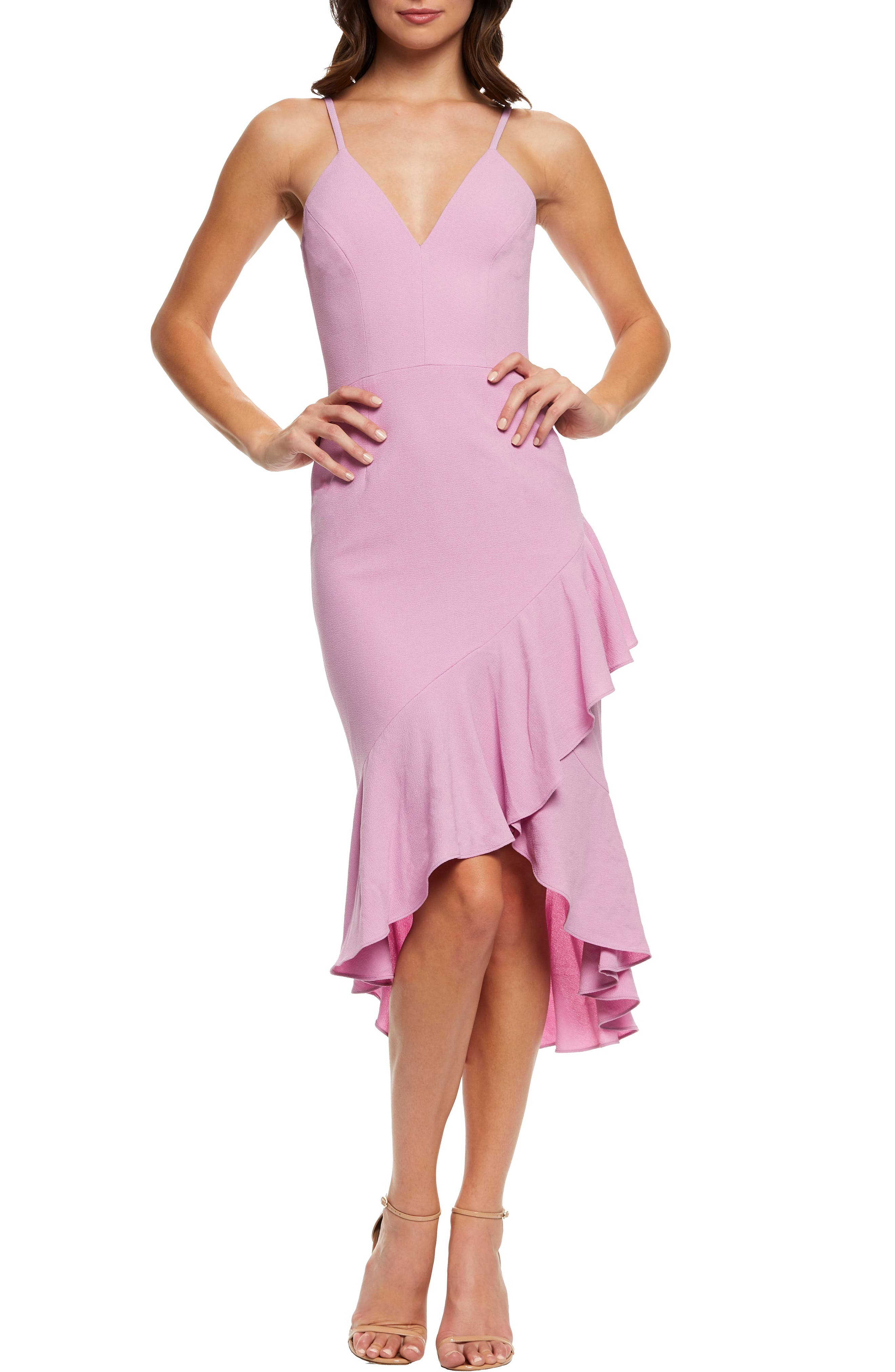 Dress The Population Wendy High/low Ruffle Cocktail Dress, Purple