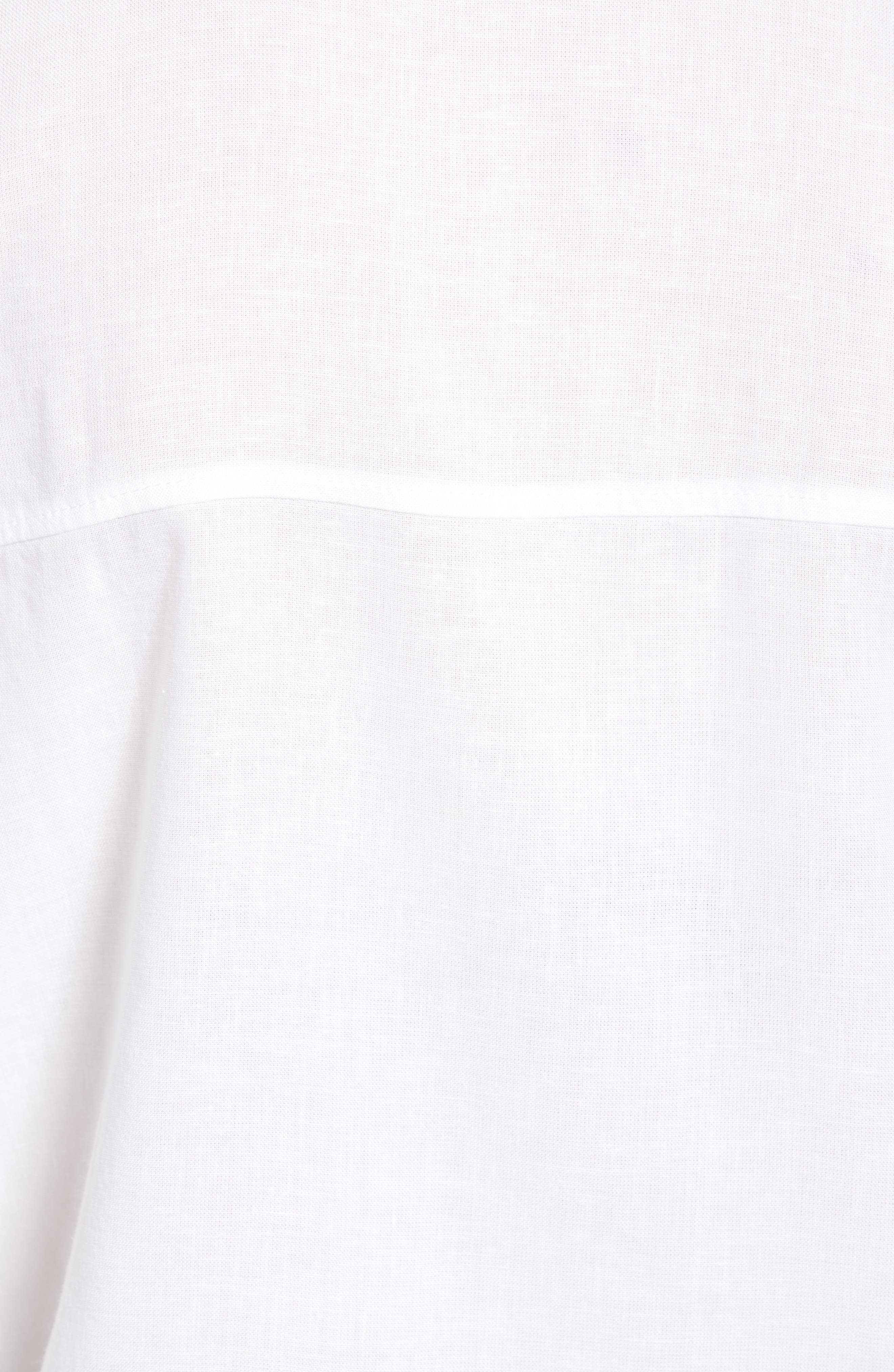 DL1961, Chrystie Tie Waist Shirt, Alternate thumbnail 5, color, WHITE