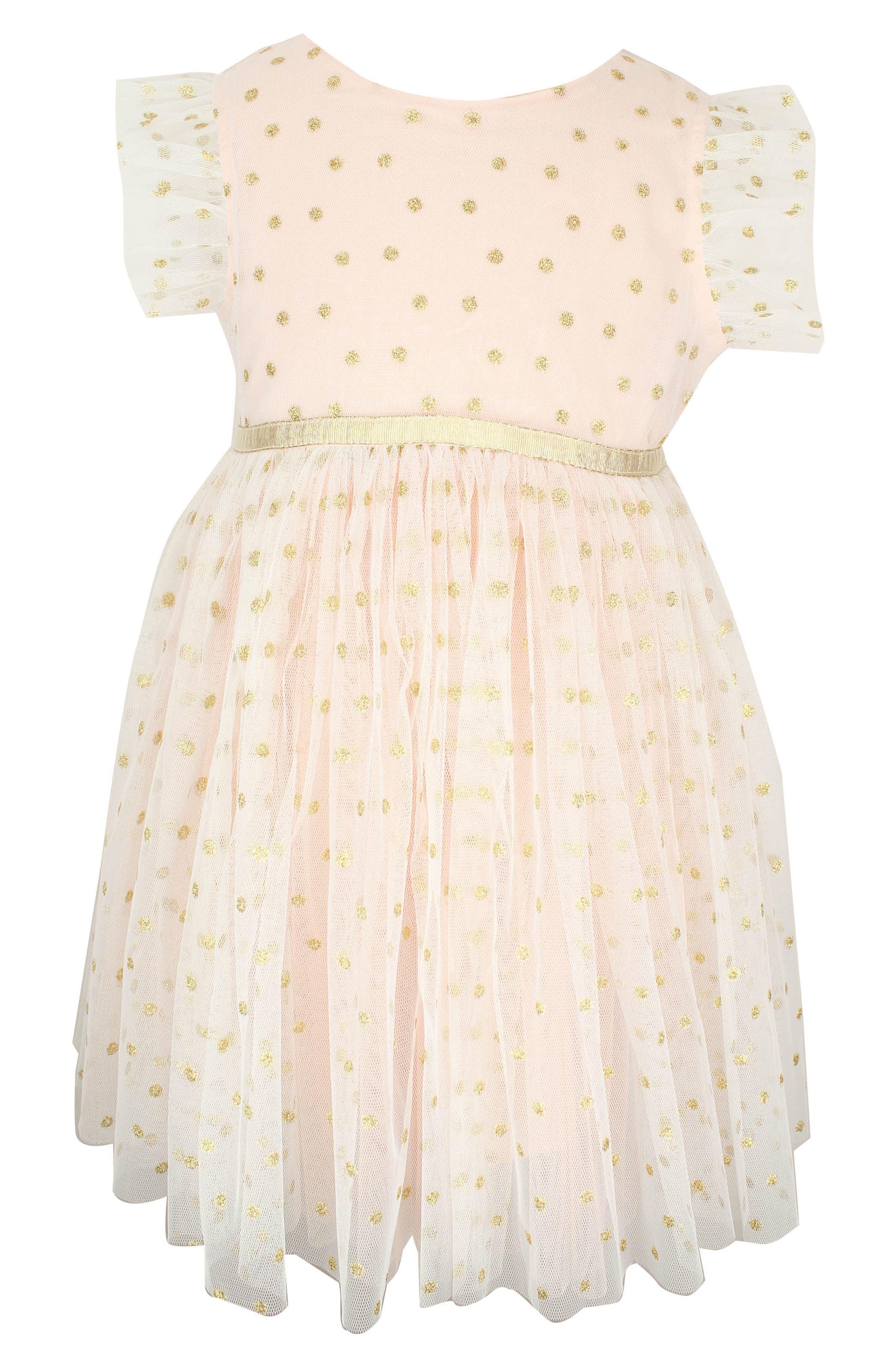 POPATU, Dotted Tulle Dress, Main thumbnail 1, color, PEACH