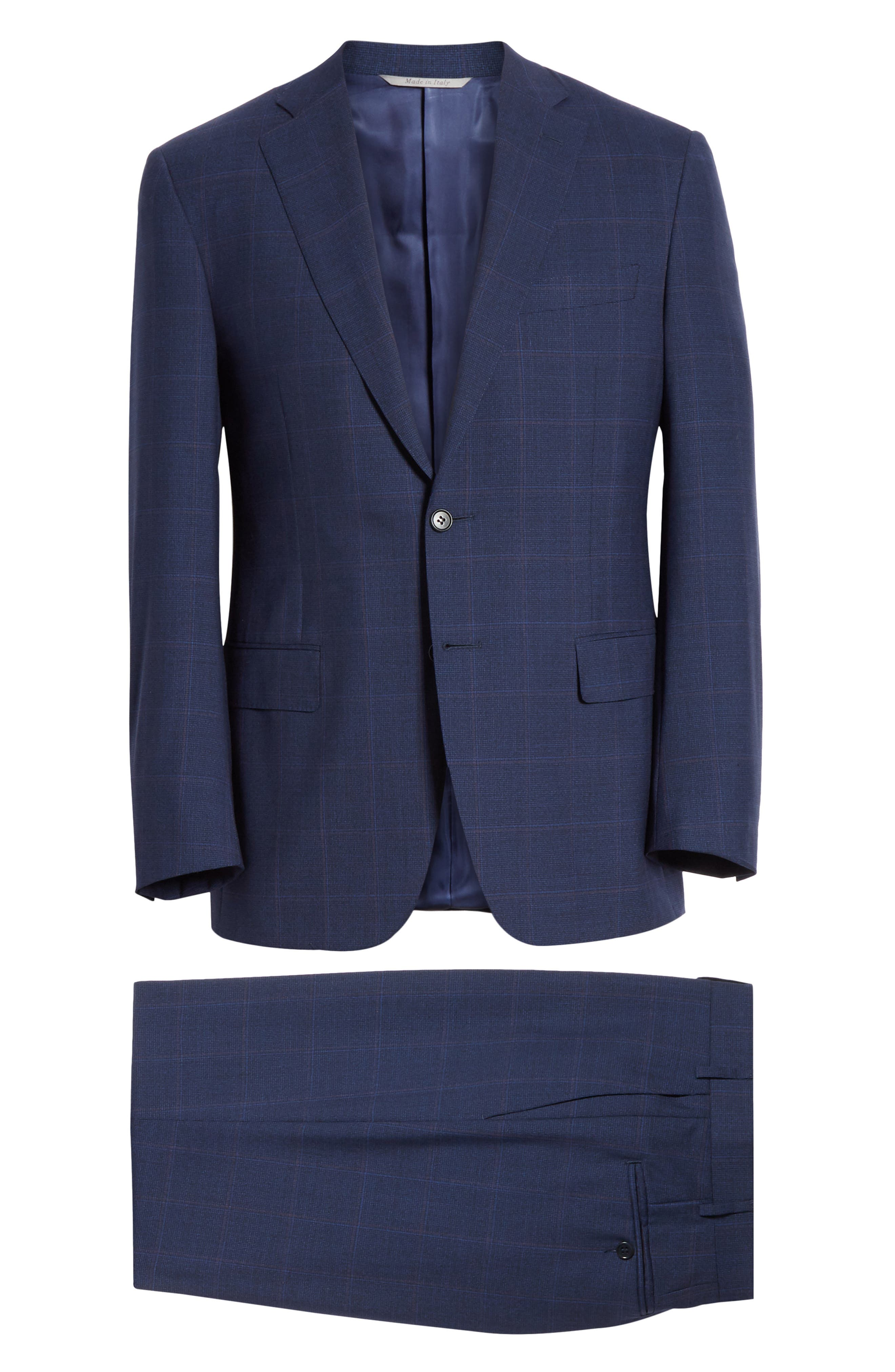 CANALI, Siena Soft Classic Fit Plaid Wool Suit, Alternate thumbnail 8, color, NAVY