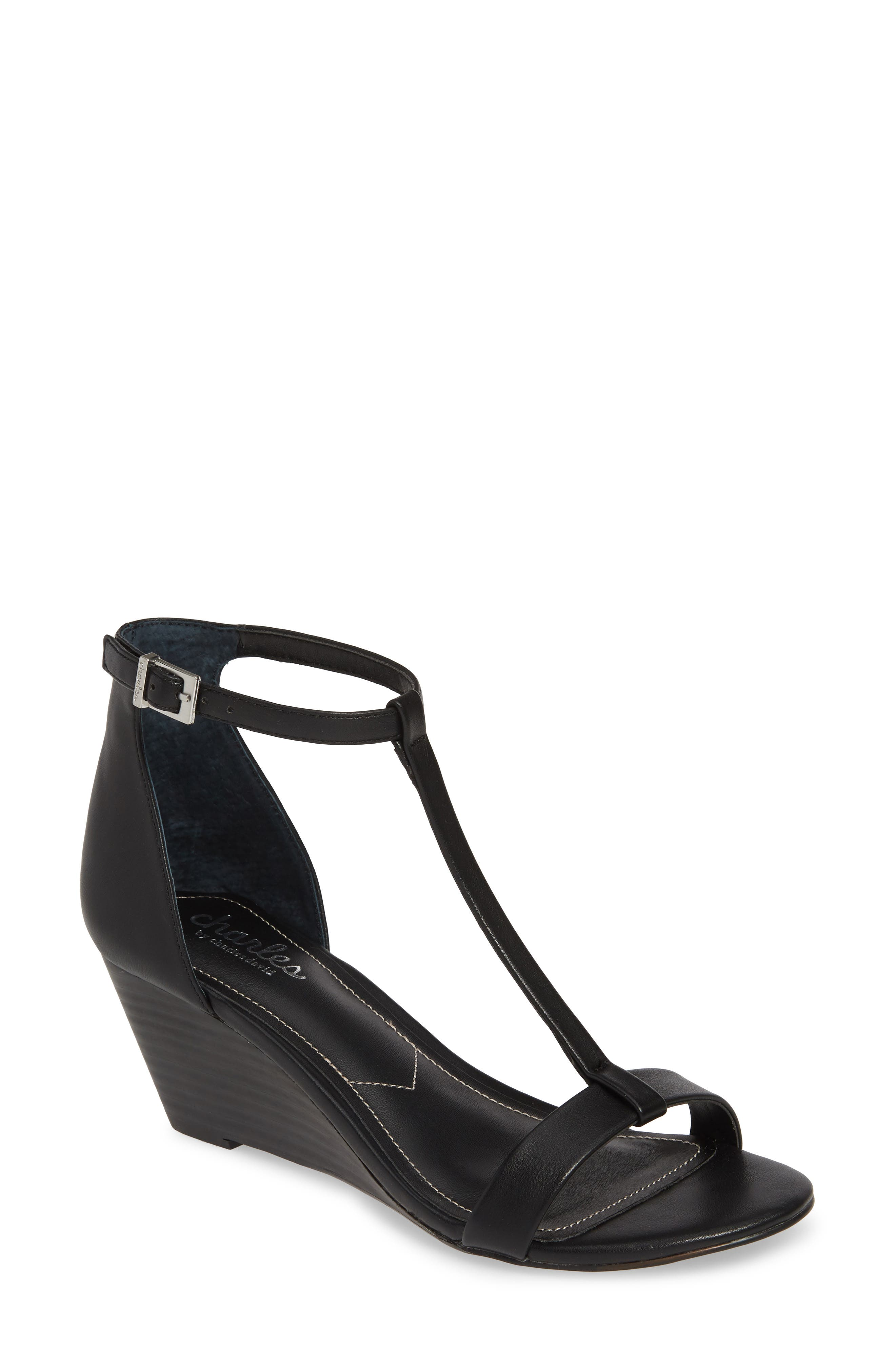 CHARLES BY CHARLES DAVID, Georgette Wedge Sandal, Main thumbnail 1, color, BLACK FAUX LEATHER