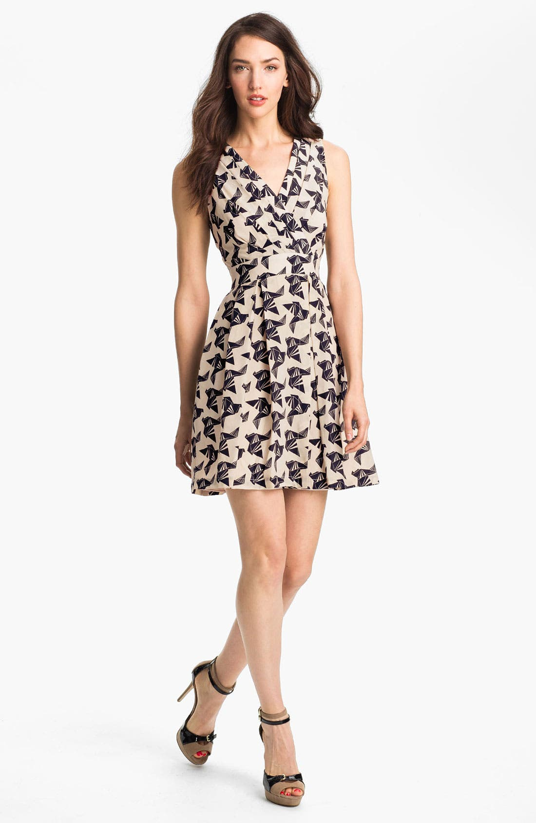 ELIZA J, Print Fit & Flare Dress, Main thumbnail 1, color, 011