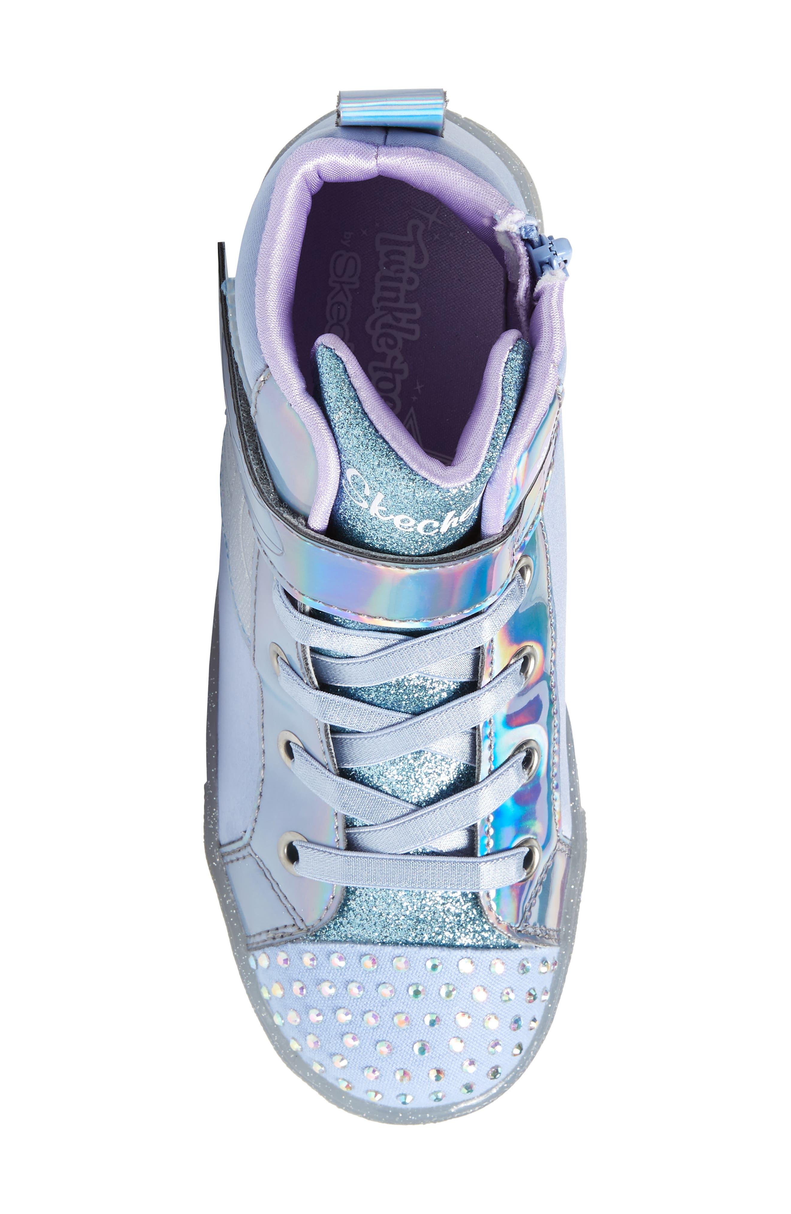SKECHERS, Twinkle Toes Light-Up Sneaker, Alternate thumbnail 5, color, PERIWINKLE