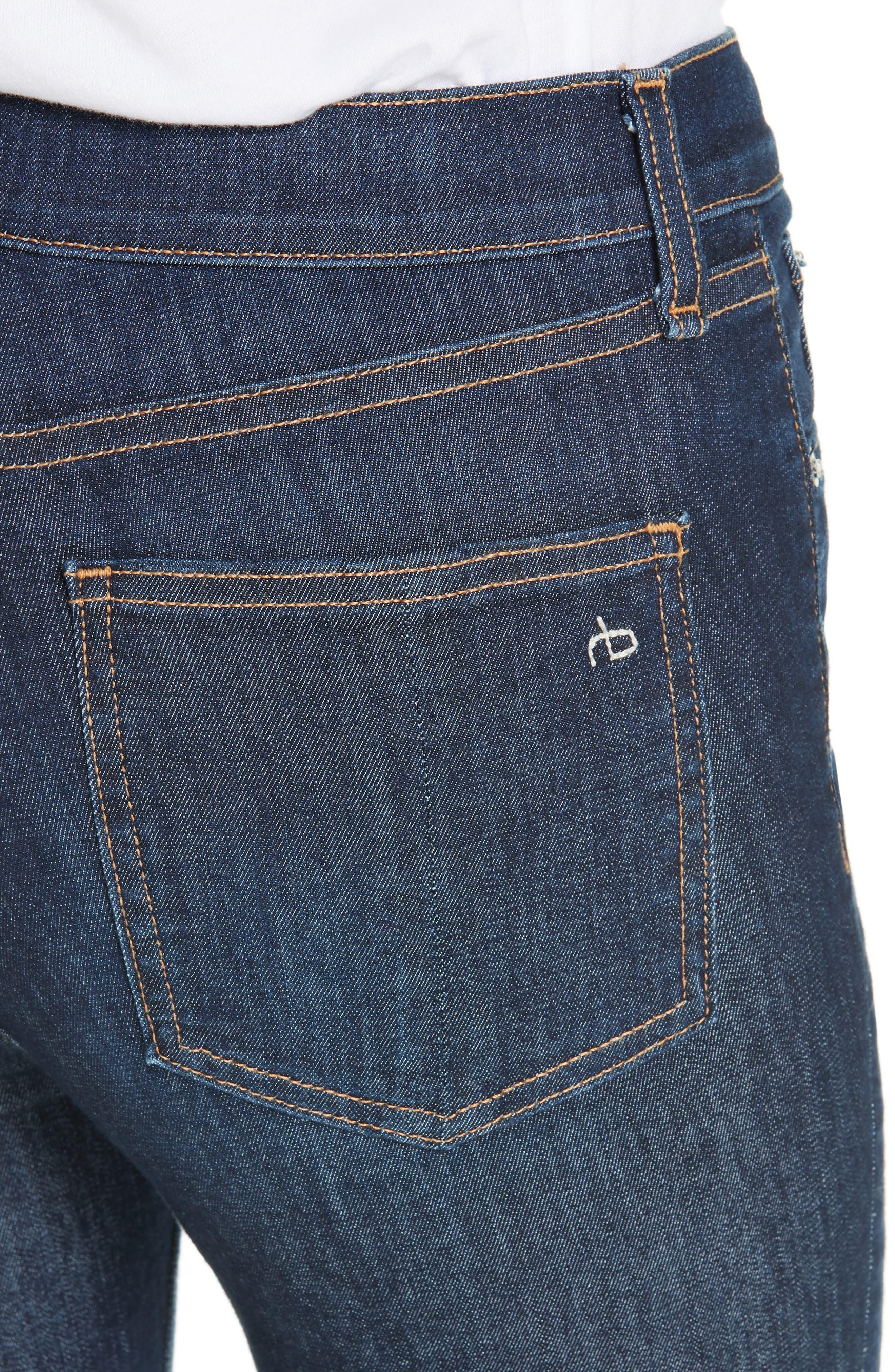 RAG & BONE, High Waist Skinny Ankle Jeans, Alternate thumbnail 5, color, 402