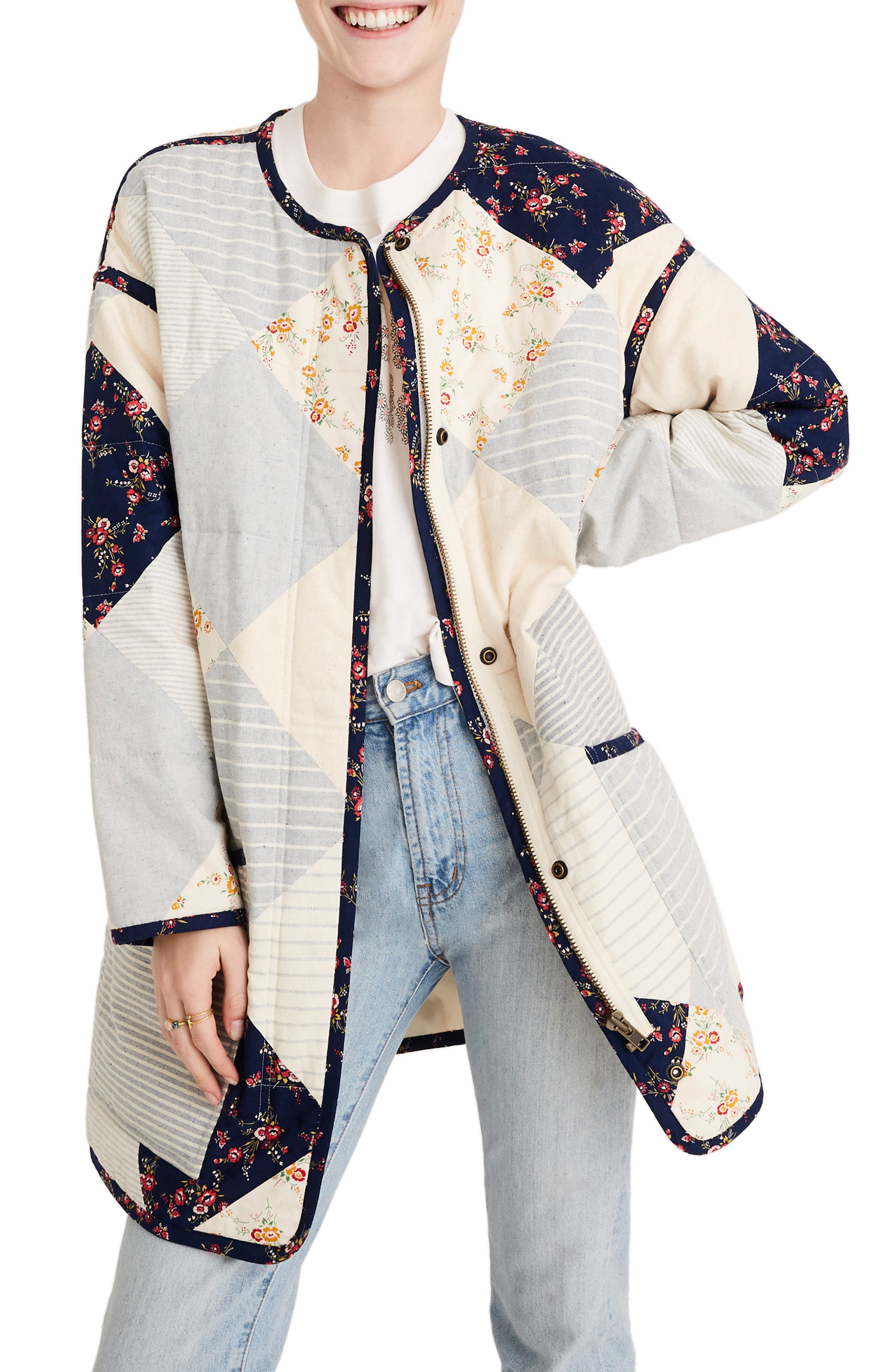 MADEWELL x The New Denim Project<sup>®</sup> Patchwork Cocoon Coat, Main, color, WHITE SKINNY STRIPE