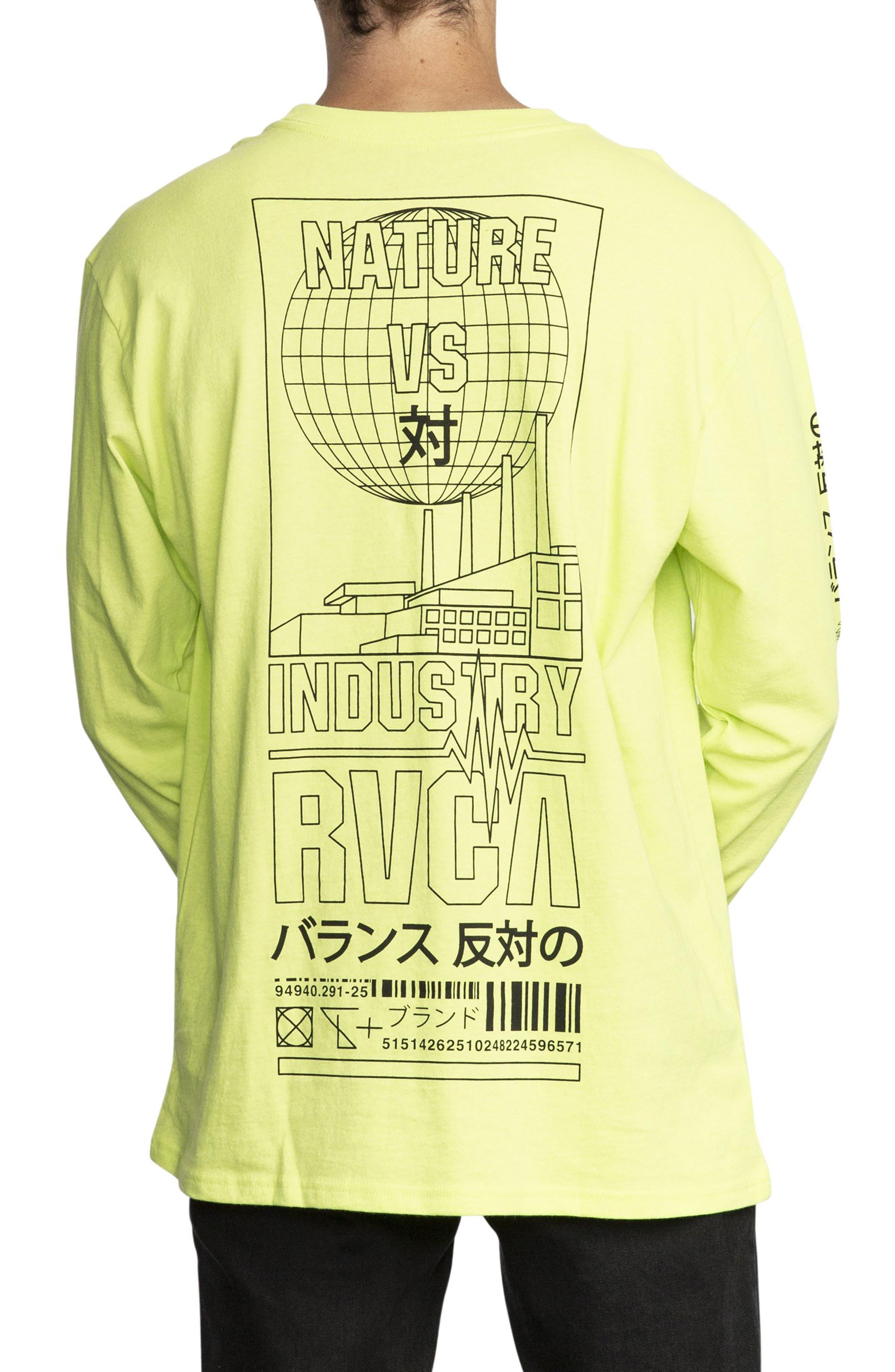 RVCA, Super Fun Long Sleeve T-Shirt, Alternate thumbnail 2, color, ACID YELLOW