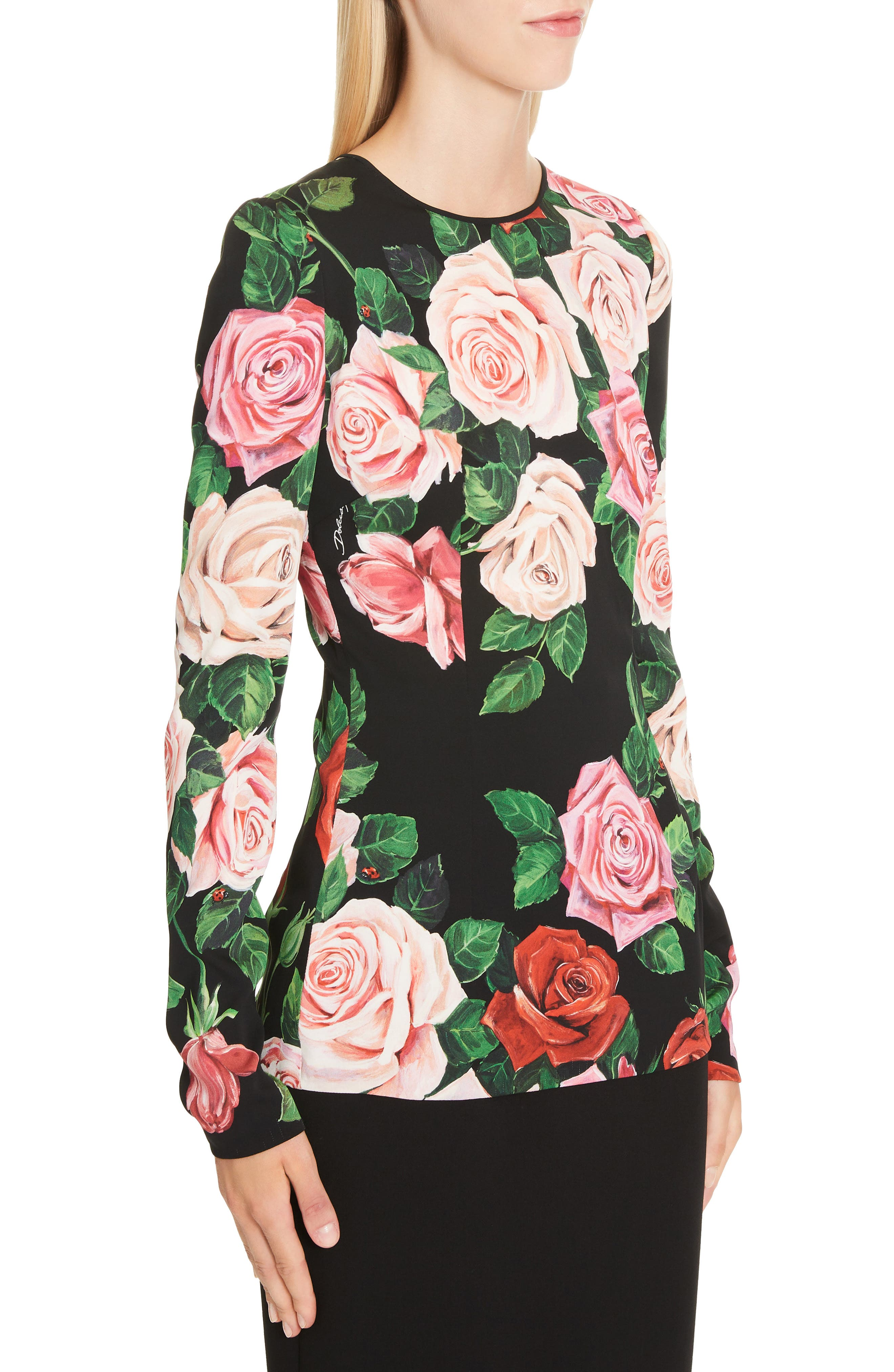 DOLCE&GABBANA, Rose Print Stretch Silk Top, Alternate thumbnail 4, color, BLACK ROSE