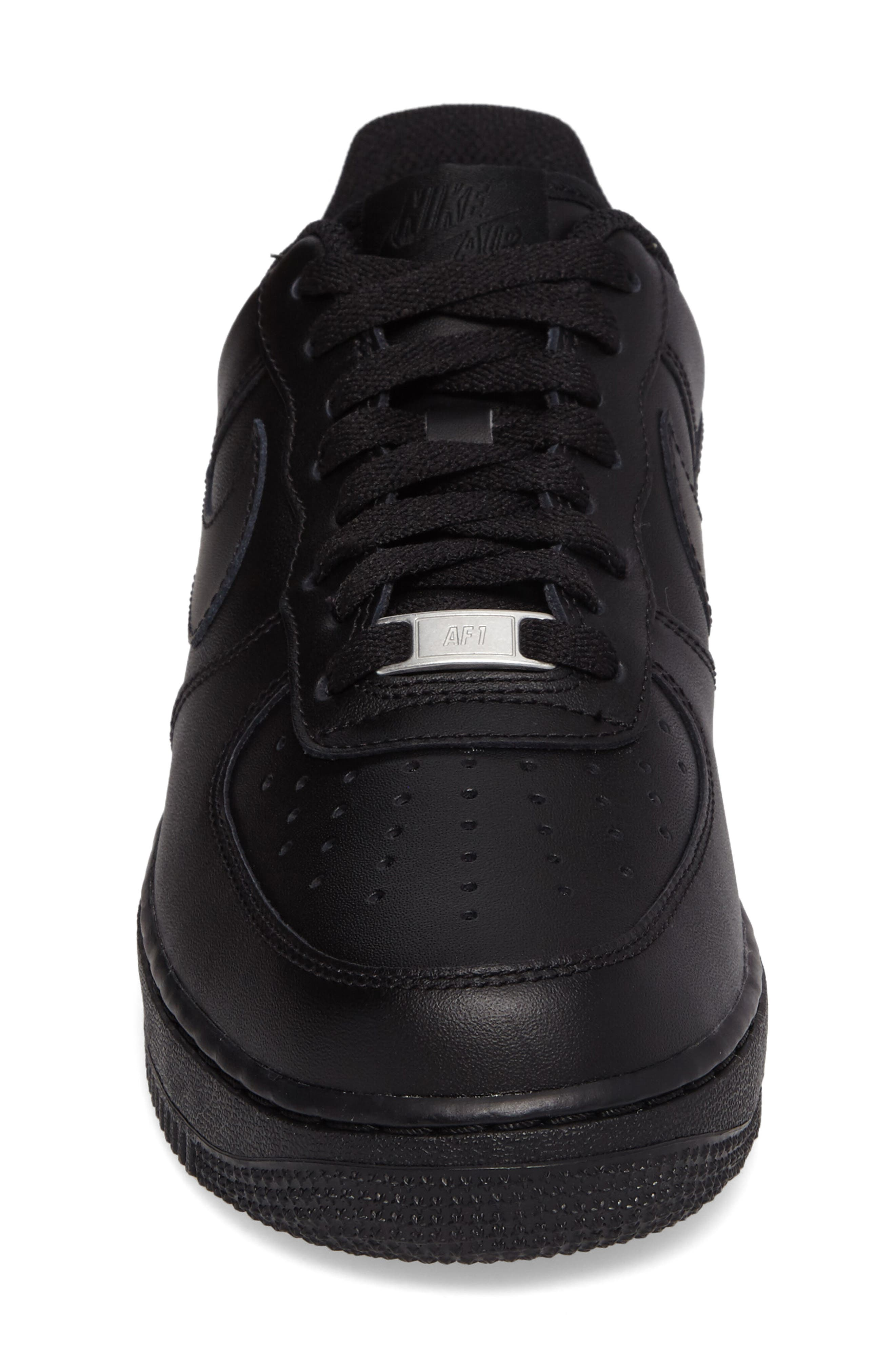NIKE, Air Force 1 '07 Sneaker, Alternate thumbnail 4, color, BLACK/ BLACK