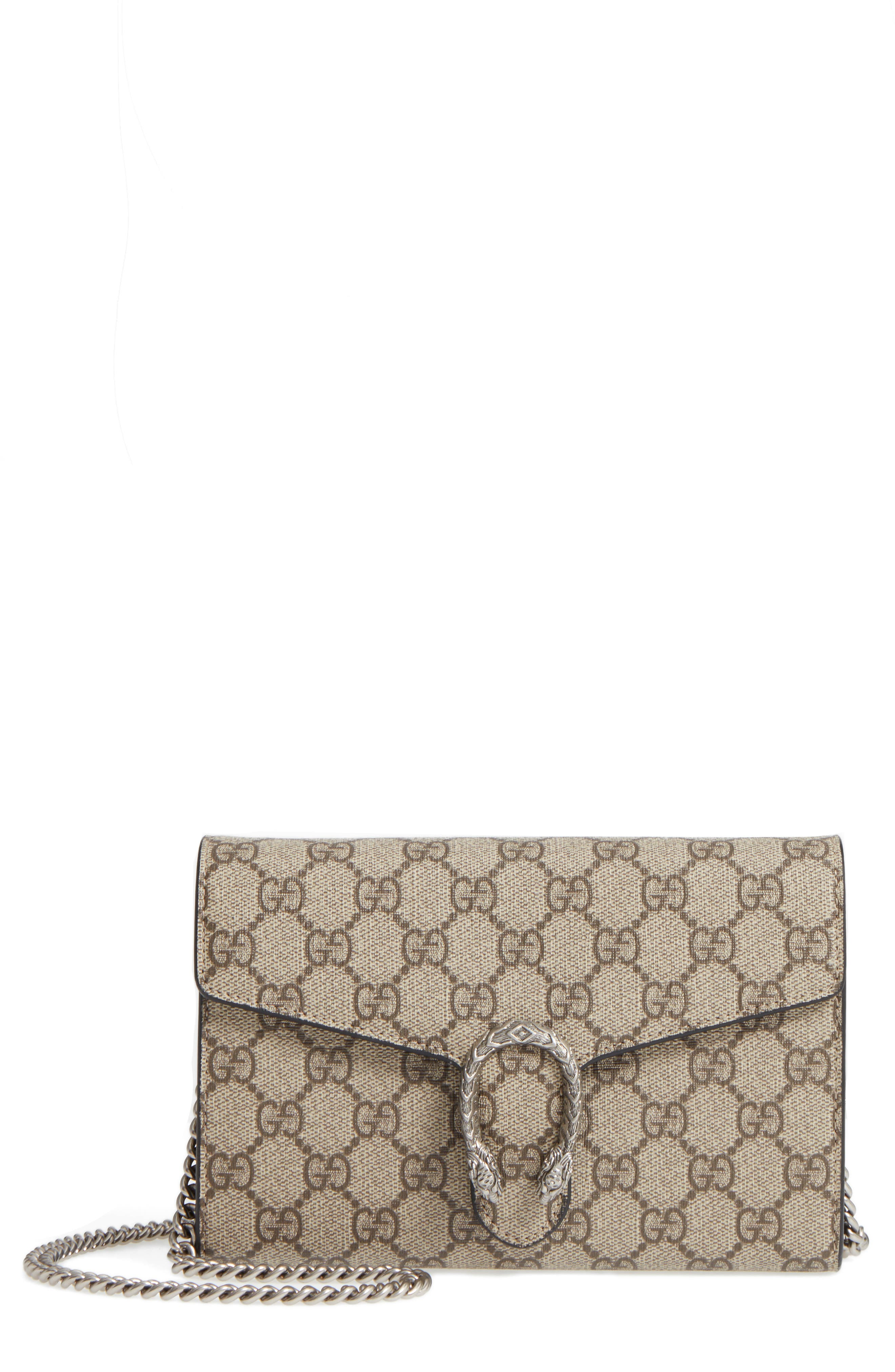 GUCCI, Dionysus GG Supreme Canvas Wallet on a Chain, Main thumbnail 1, color, BEIGE EBONY/NERO