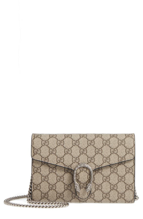c1a5f78c7316 Gucci Dionysus GG Supreme Canvas Wallet on a Chain