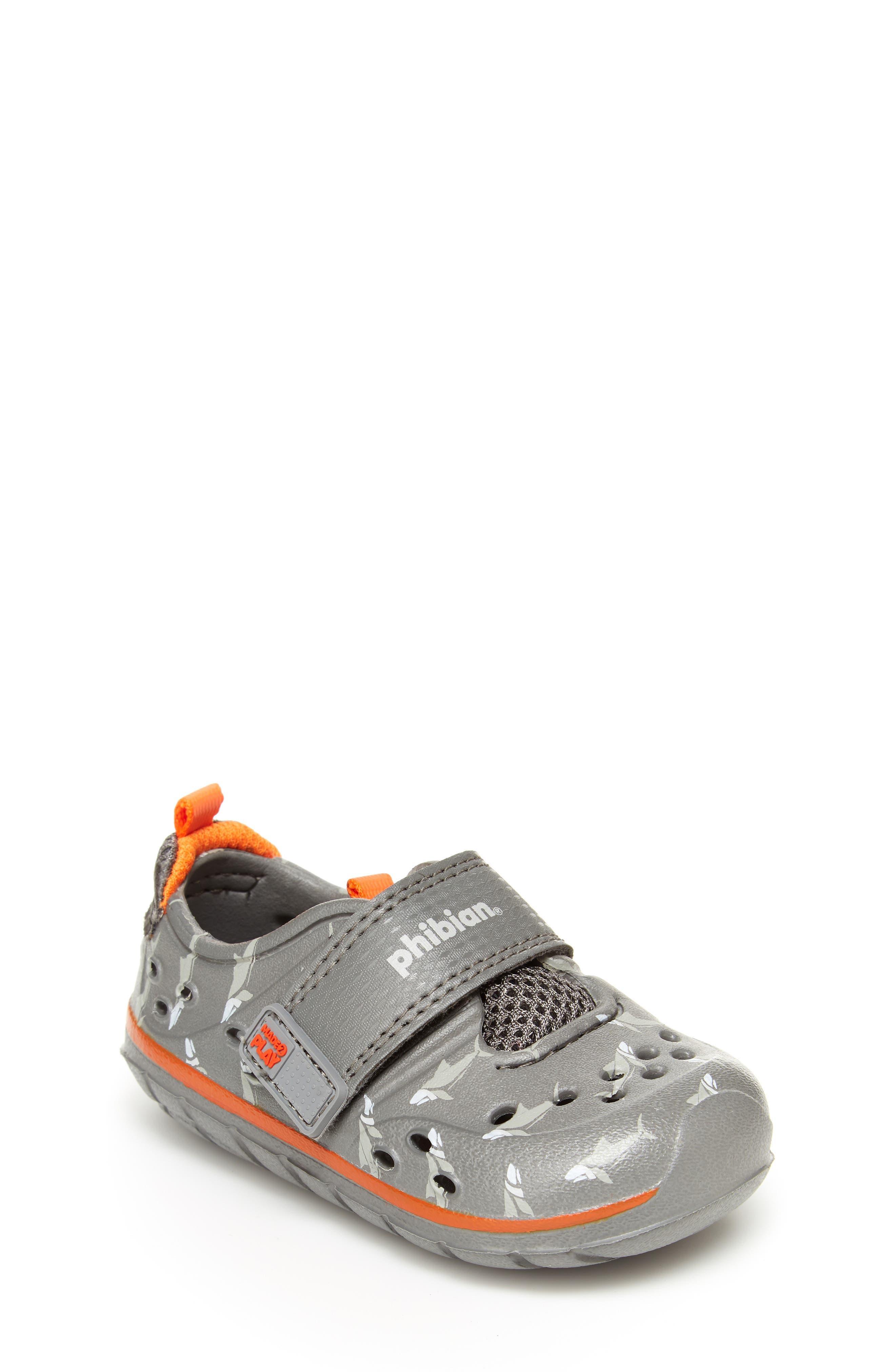 STRIDE RITE, Made2Play<sup>®</sup> Phibian Sneaker, Main thumbnail 1, color, GREY SHARK EVA