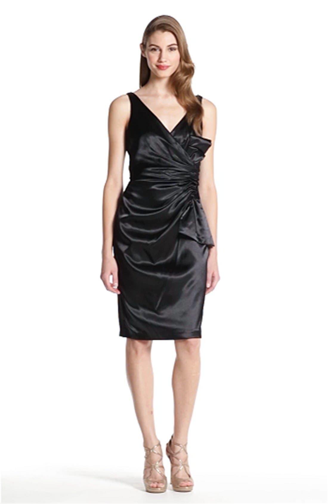 MAGGY LONDON, Side Bow Stretch Satin Sheath Dress, Alternate thumbnail 5, color, 001