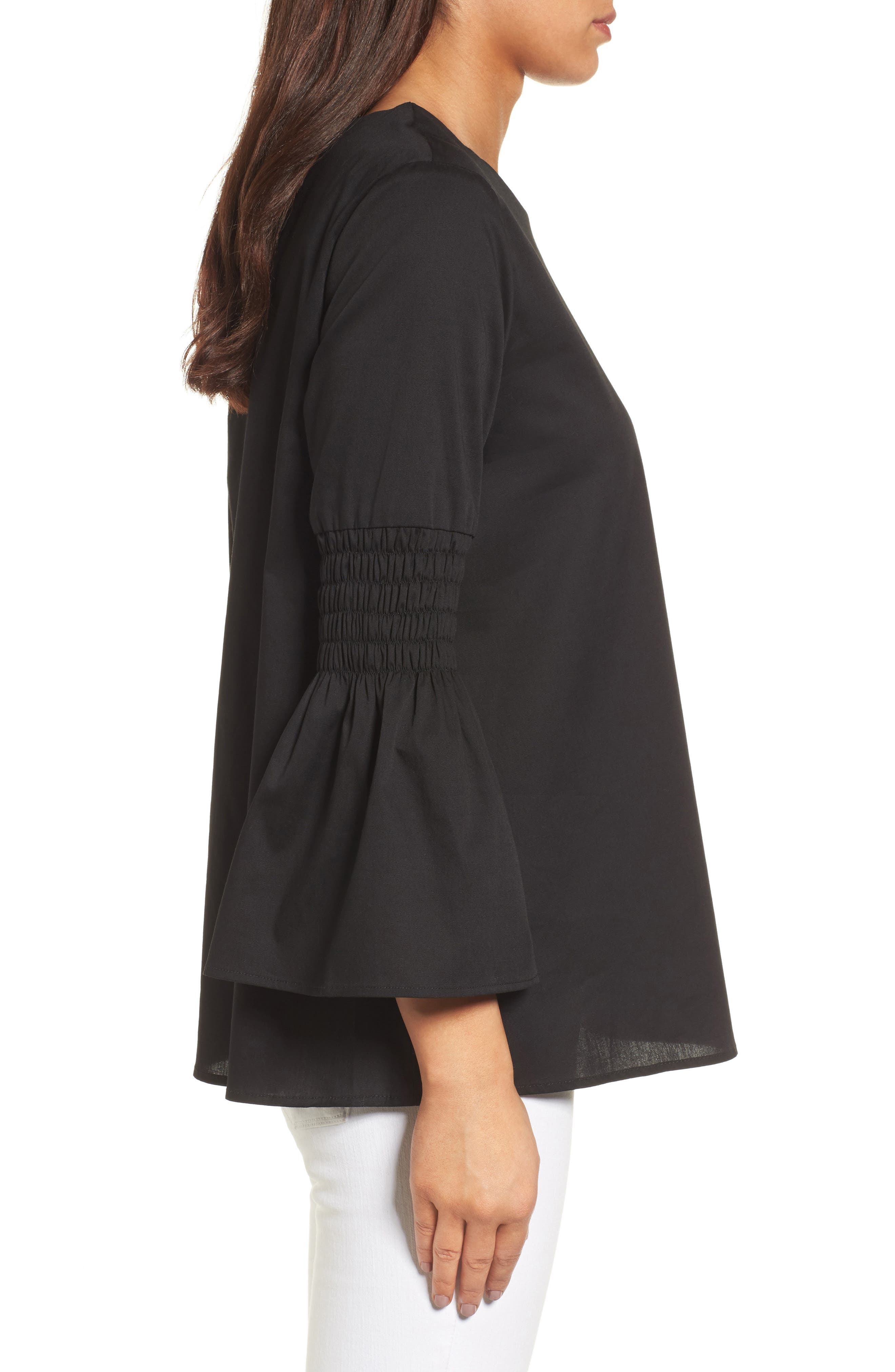 HALOGEN<SUP>®</SUP>, Bow Back Bell Sleeve Top, Alternate thumbnail 4, color, 001