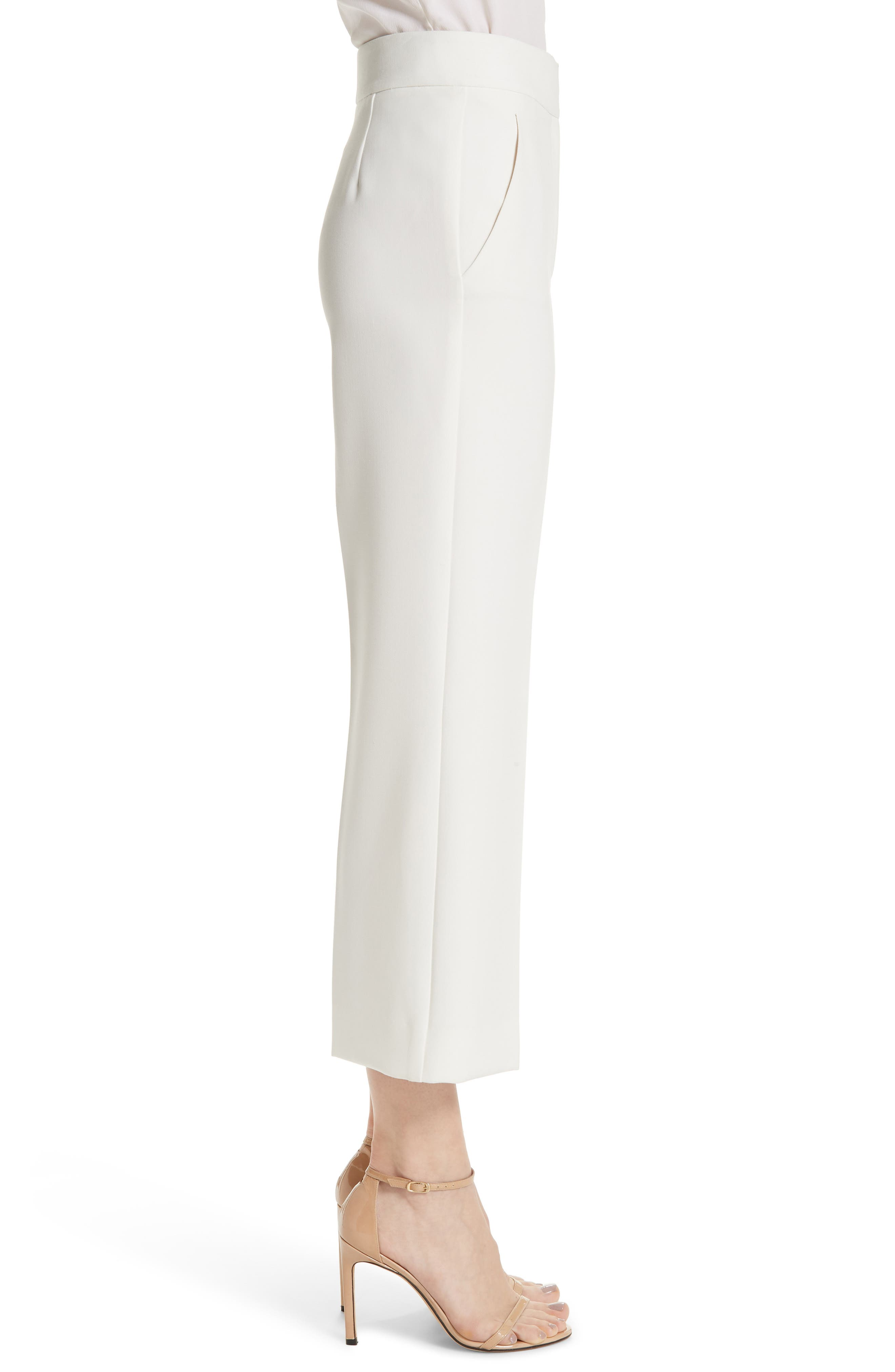 ST. JOHN COLLECTION, Bella Double Weave Crop Flare Pants, Alternate thumbnail 3, color, CREAM