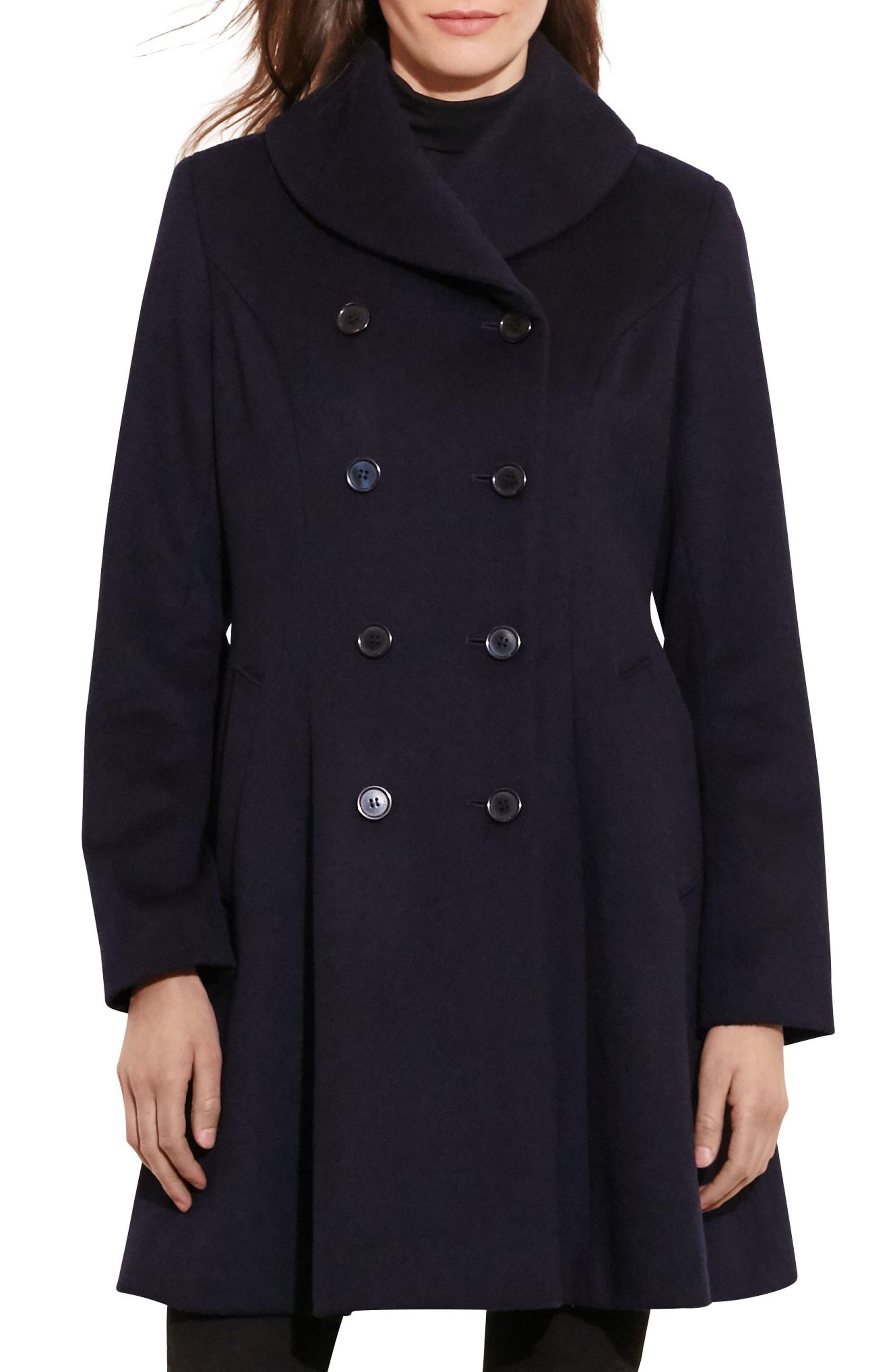 LAUREN RALPH LAUREN Fit & Flare Military Coat, Main, color, REGAL NAVY