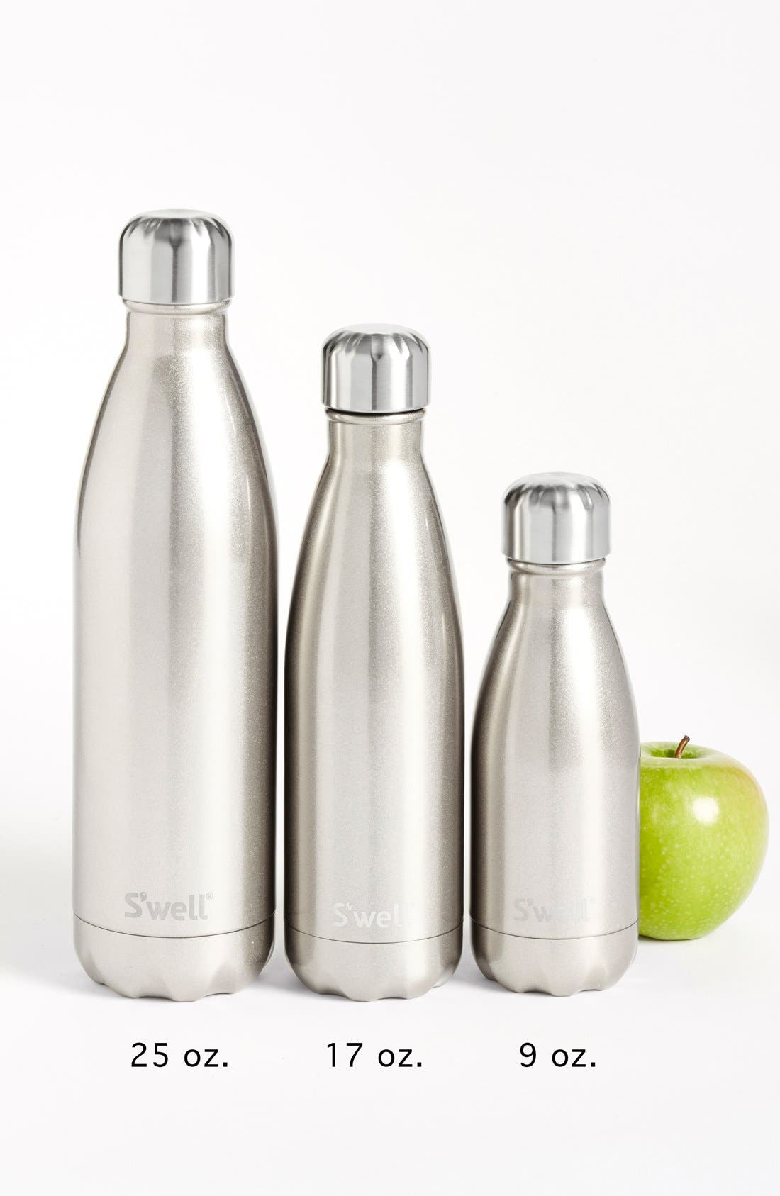 S'WELL, 'Silver Lining' Stainless Steel Water Bottle, Alternate thumbnail 7, color, SILVER