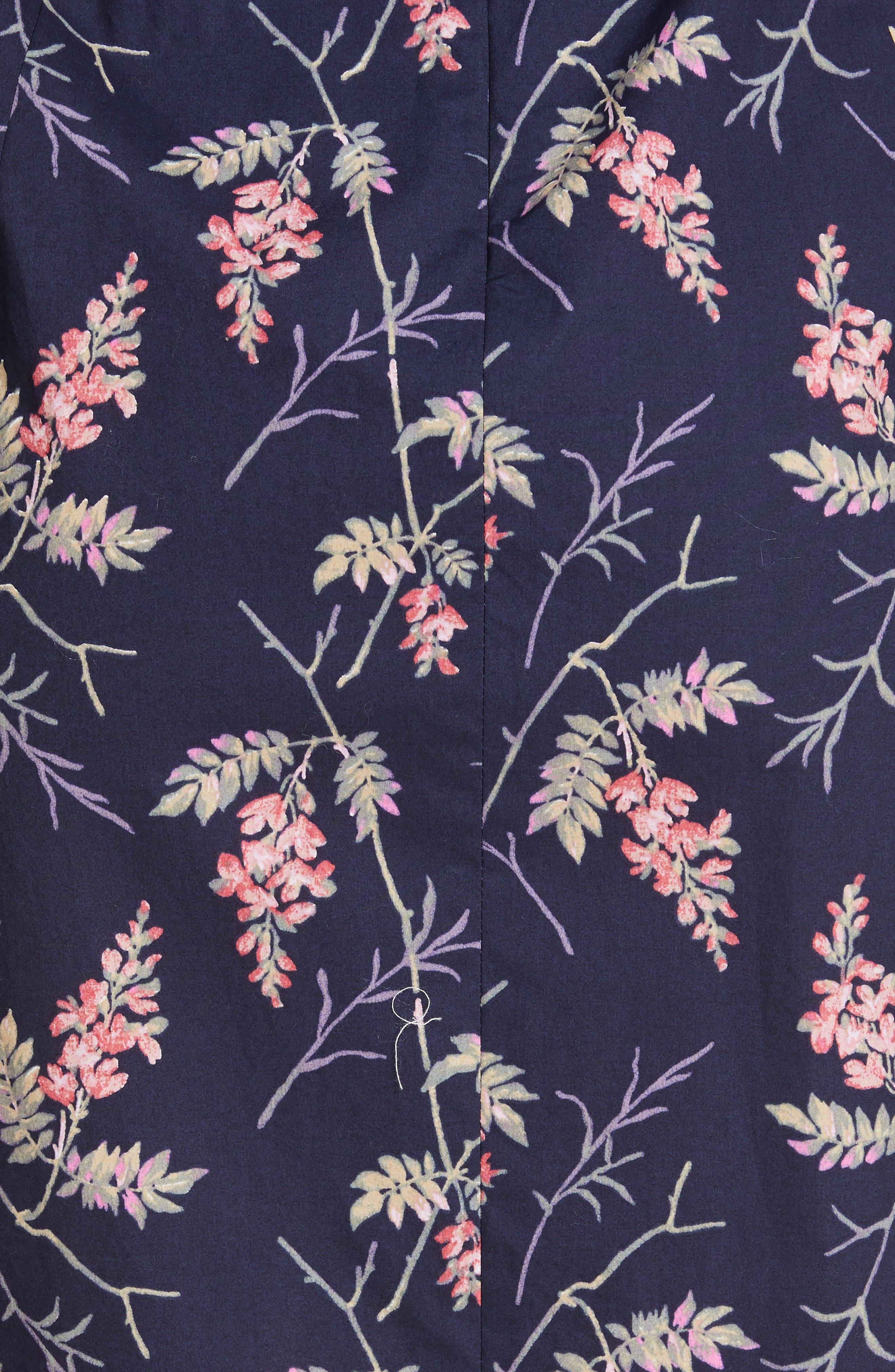 REBECCA TAYLOR, Ivie Floral Sleeveless Cotton Midi Sundress, Alternate thumbnail 6, color, NAVY COMBO