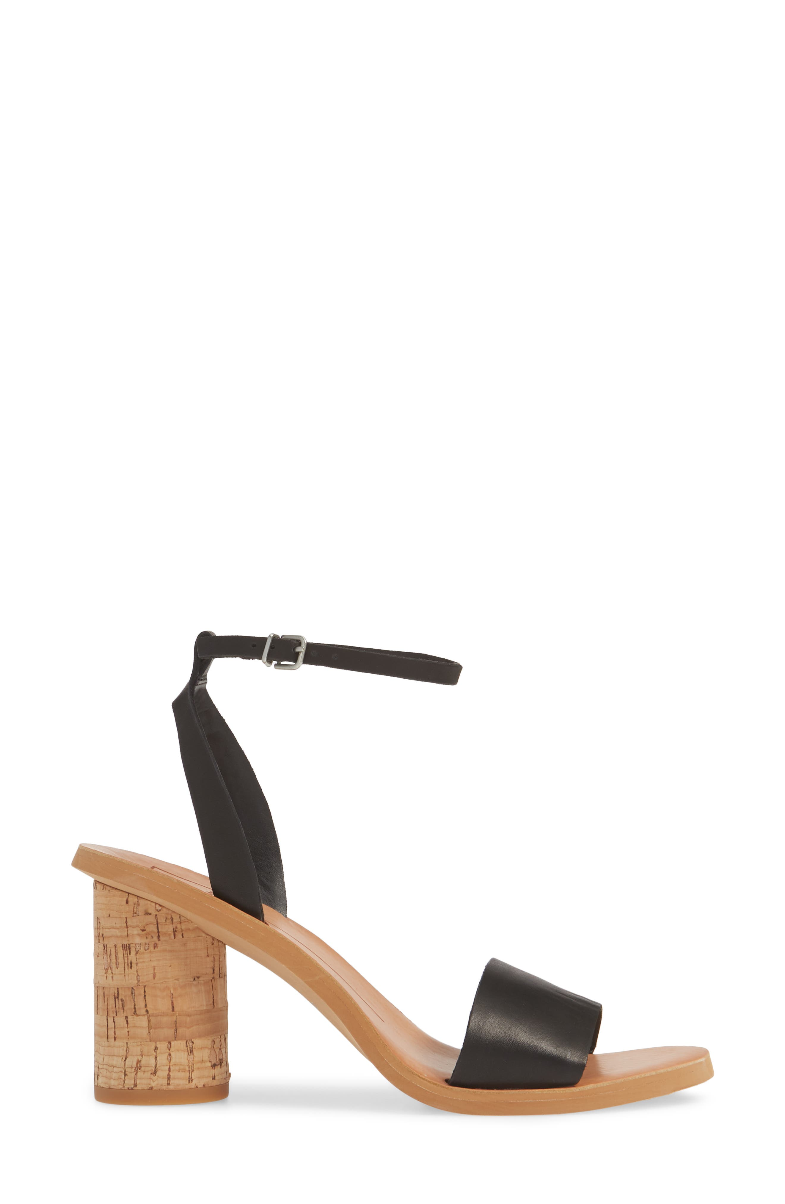 DOLCE VITA, Jali Column Heel Sandal, Alternate thumbnail 3, color, BLACK LEATHER