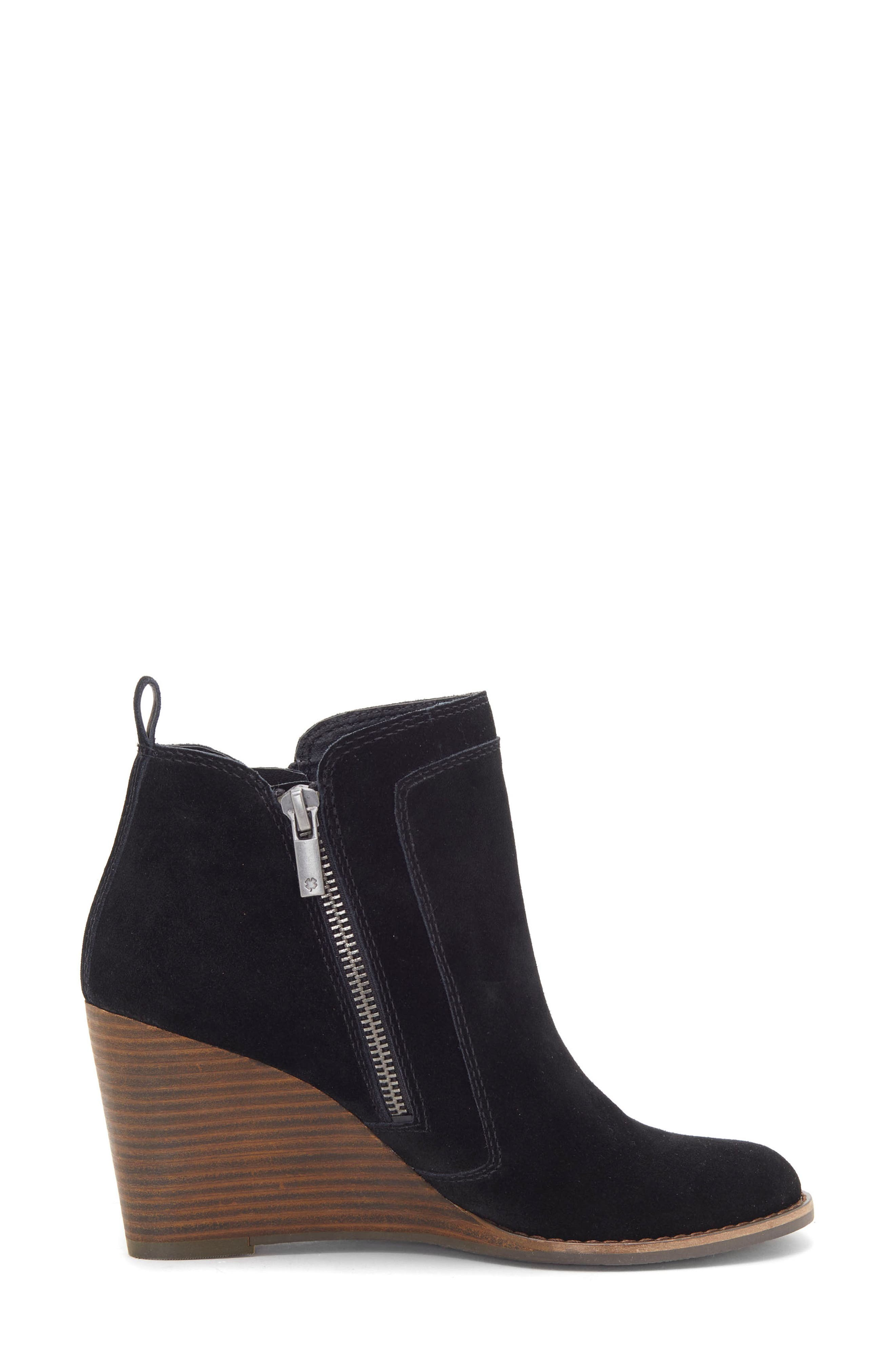 LUCKY BRAND, Yahir Wedge Bootie, Alternate thumbnail 3, color, BLACK SUEDE