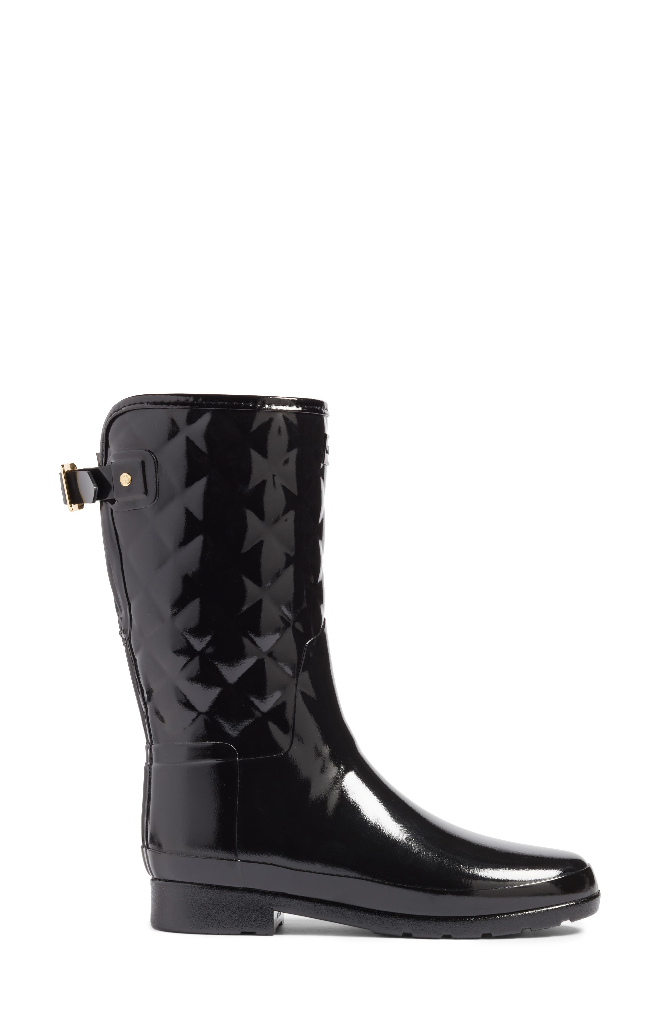 HUNTER, Refined High Gloss Quilted Short Waterproof Rain Boot, Alternate thumbnail 3, color, BLACK