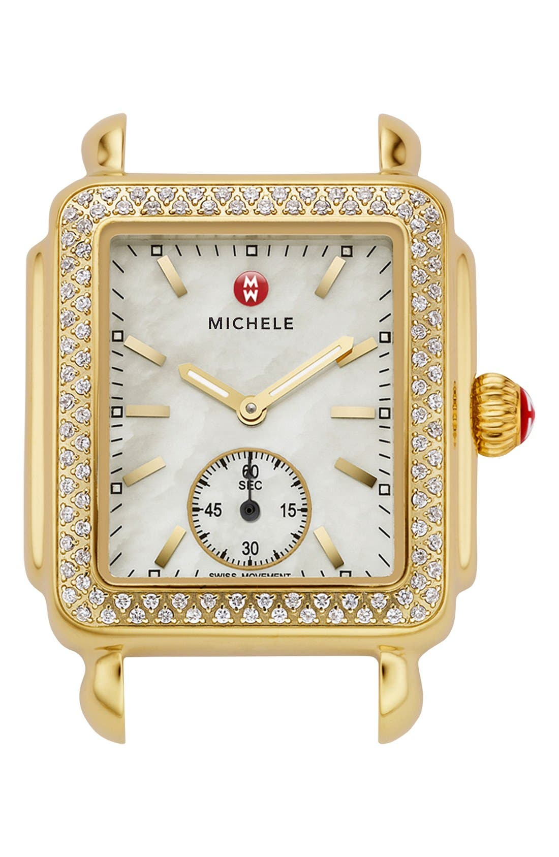 MICHELE, Deco 16 Diamond Gold Plated Watch Head, 29mm x 31mm, Main thumbnail 1, color, GOLD