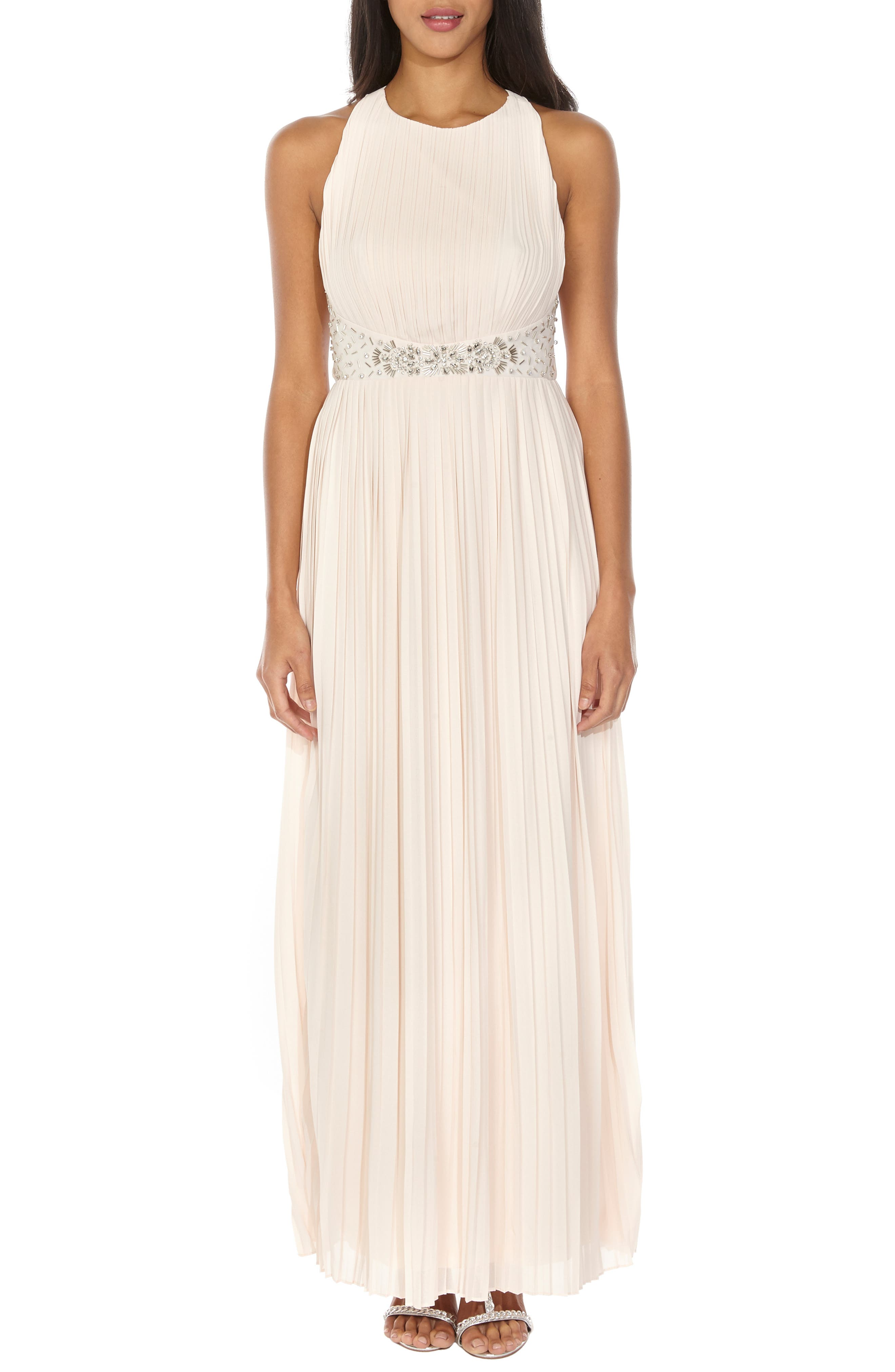 TFNC Adora Beaded Waist Gown, Main, color, NUDE