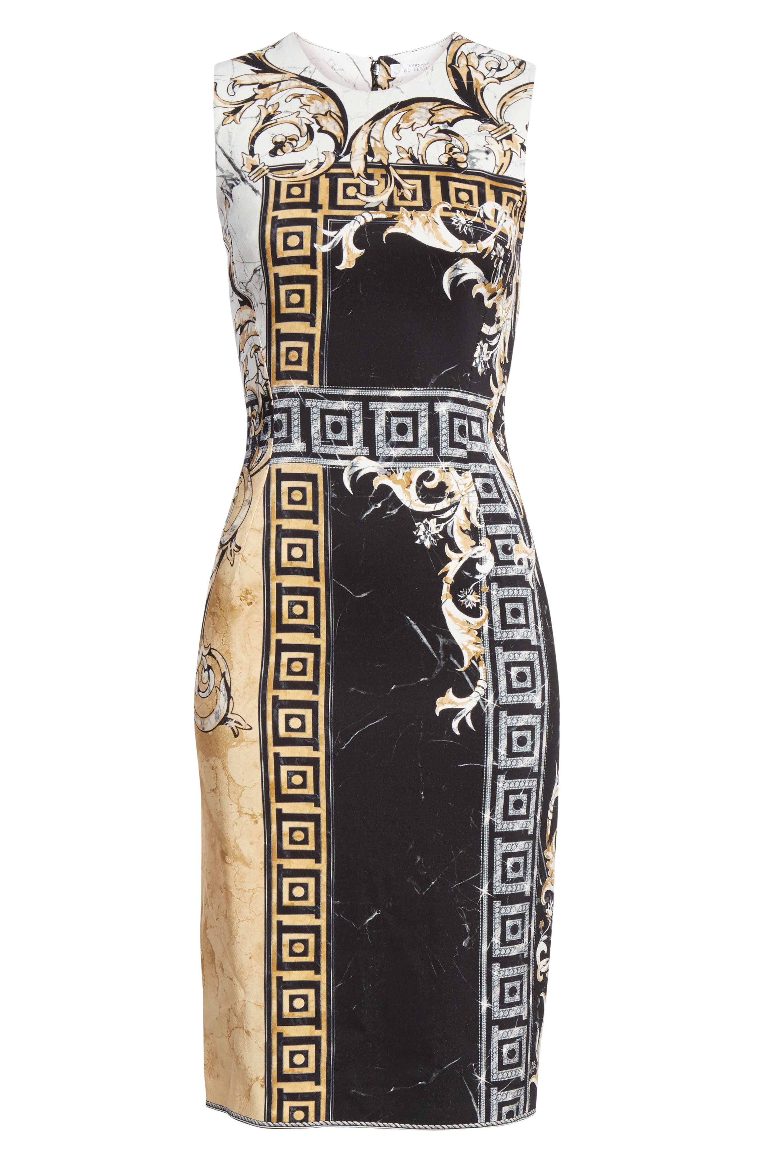 VERSACE COLLECTION, Marble Print Sheath Dress, Alternate thumbnail 7, color, BLACK