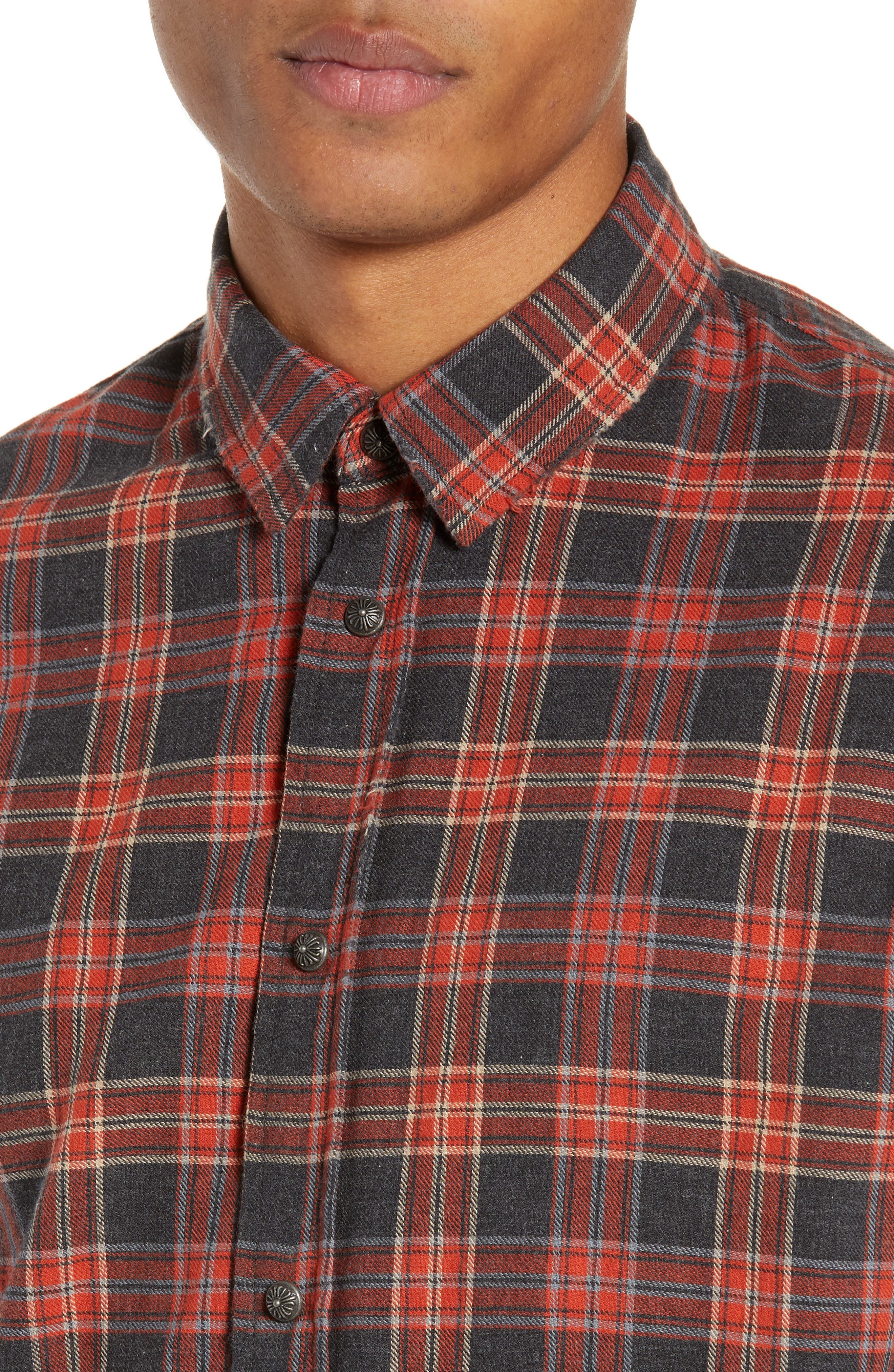 THE KOOPLES, Plaid Regular Fit Flannel Shirt, Alternate thumbnail 2, color, 800