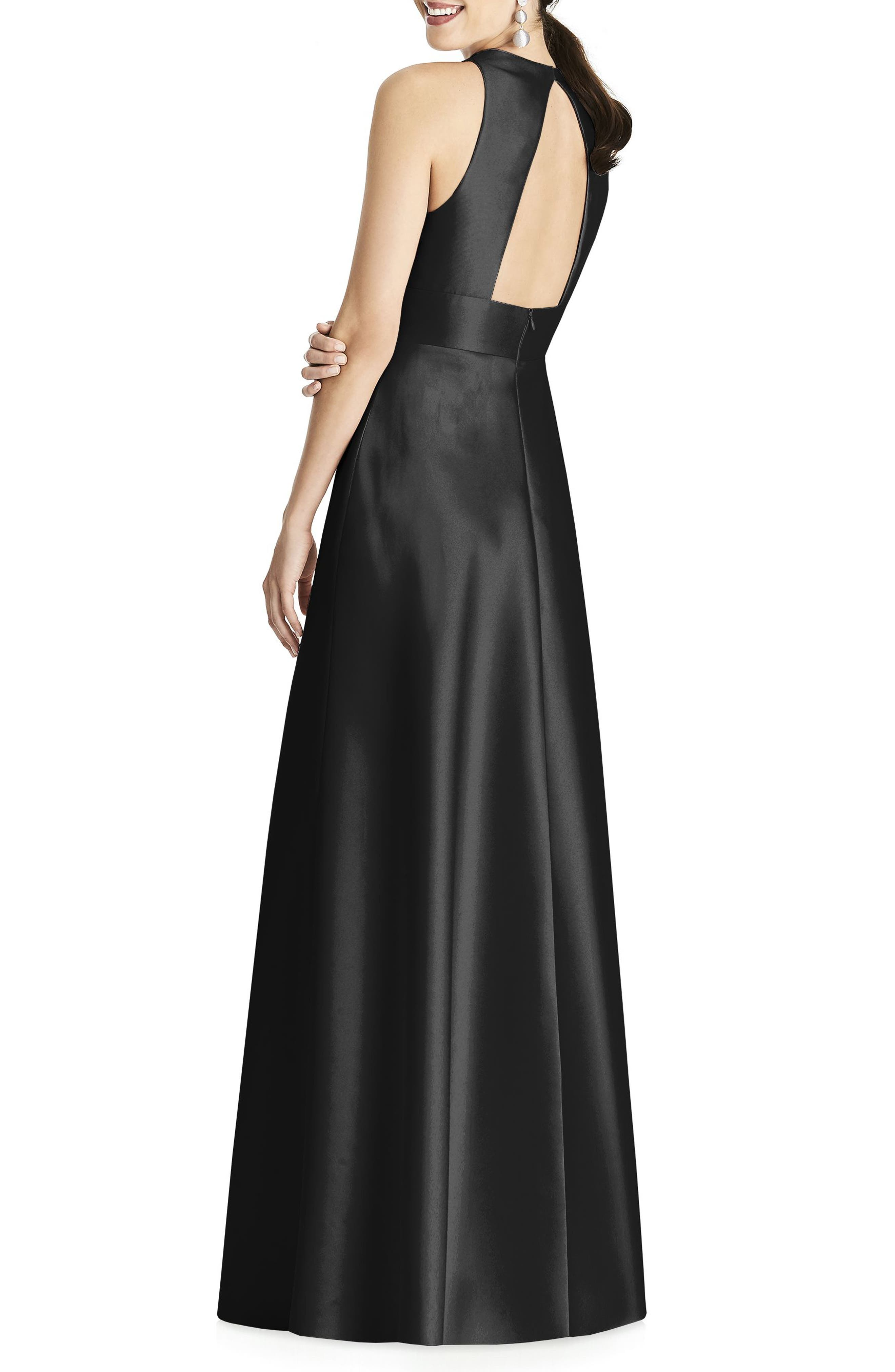 ALFRED SUNG, Sleeveless Sateen Gown, Alternate thumbnail 2, color, BLACK