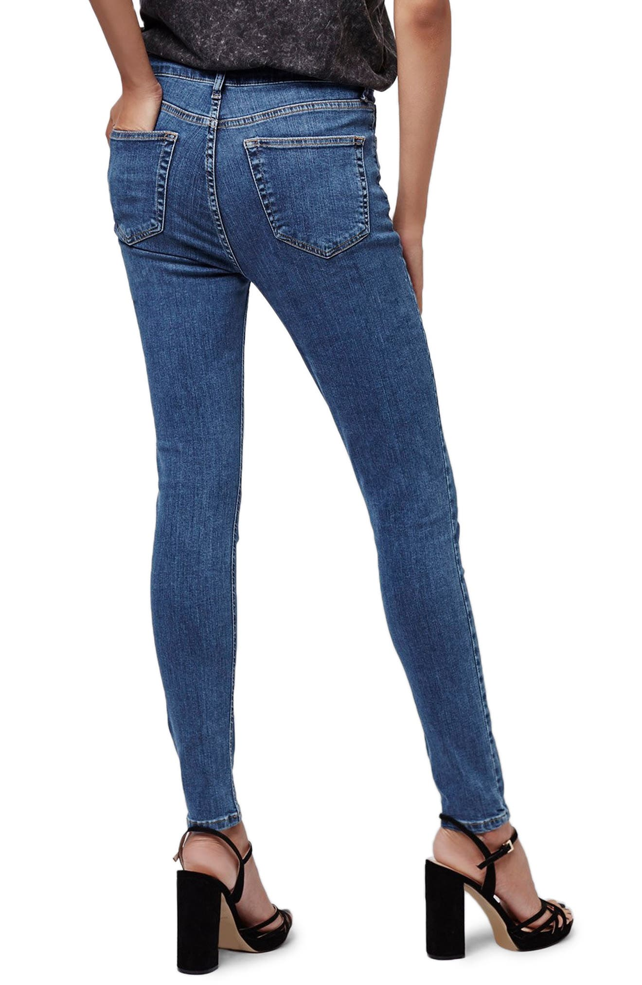 TOPSHOP, Jamie High Waist Skinny Jeans, Alternate thumbnail 2, color, MID BLUE