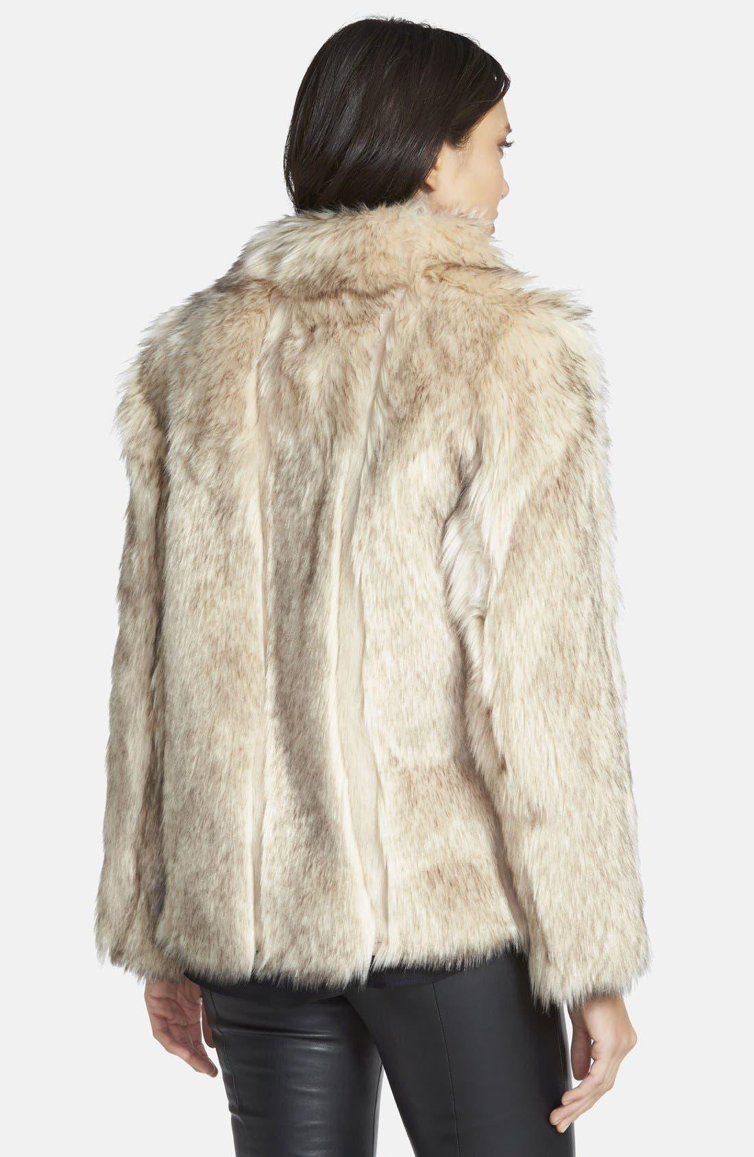 TOPSHOP, 'Leah' Faux Fur Coat, Alternate thumbnail 2, color, 101
