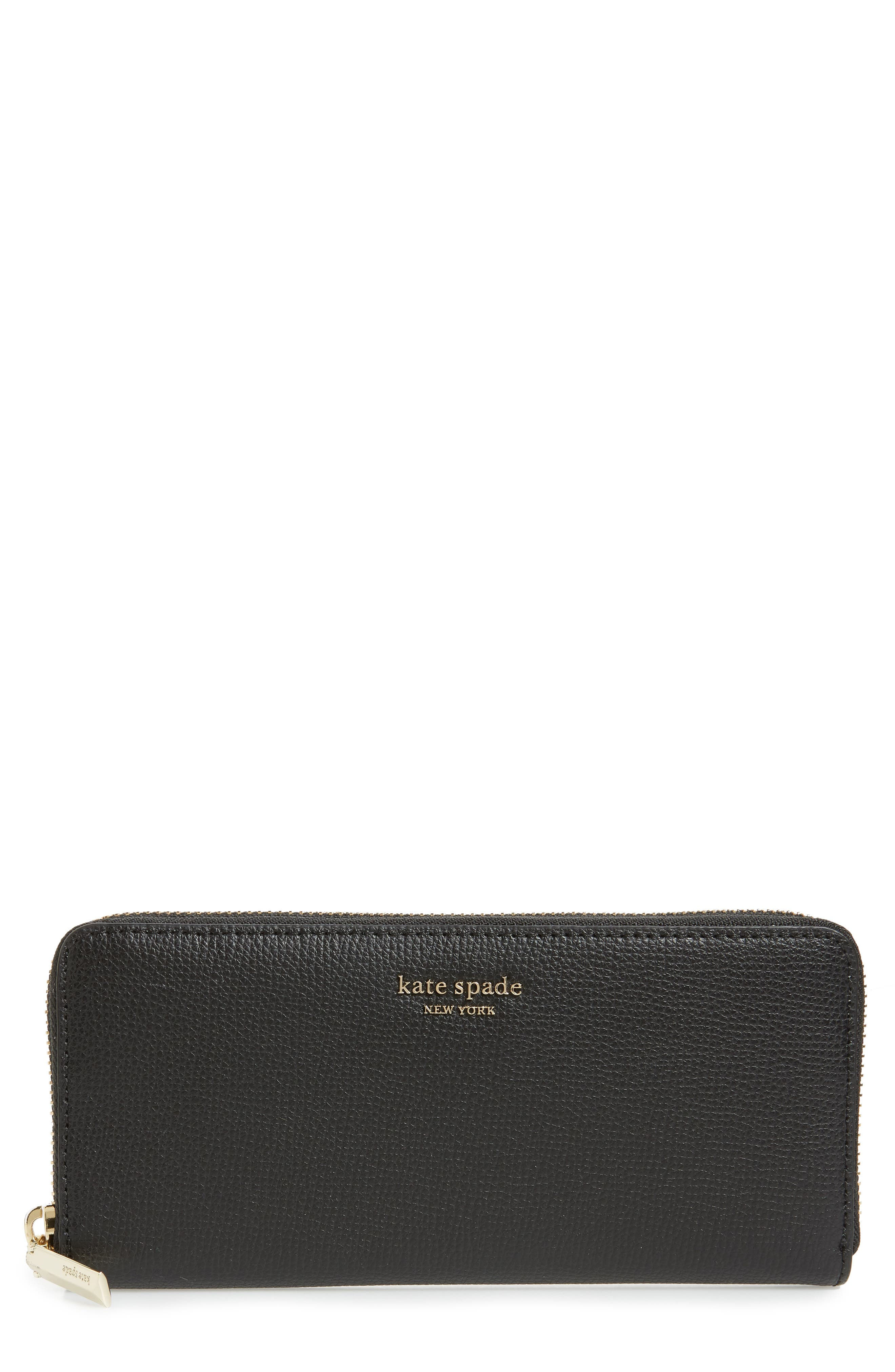 KATE SPADE NEW YORK sylvia slim continental wallet, Main, color, BLACK