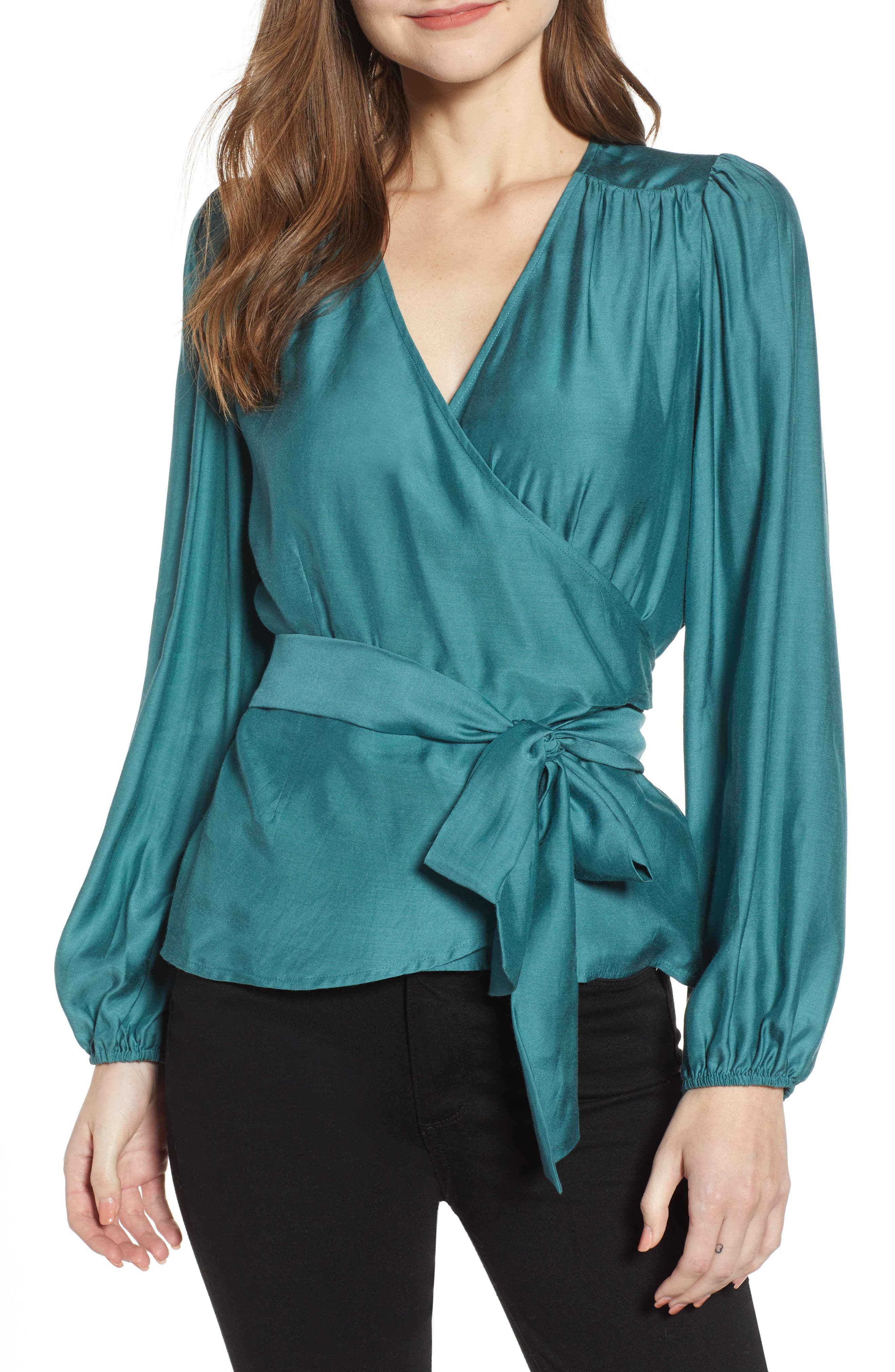 CHELSEA28 Wrap Front Top, Main, color, TEAL CYRUS