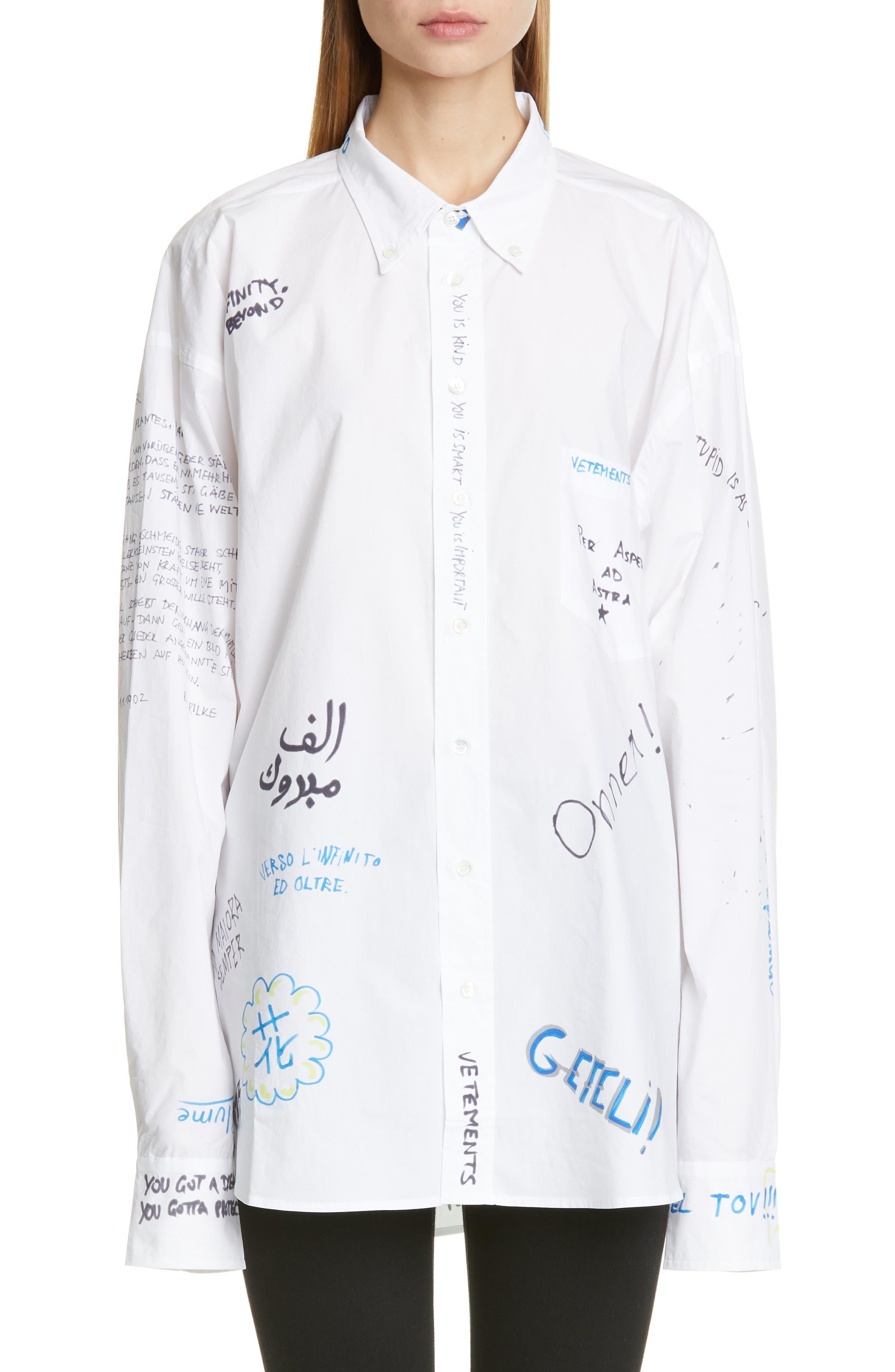 VETEMENTS Scribble Print Oversize Shirt, Main, color, WHITE