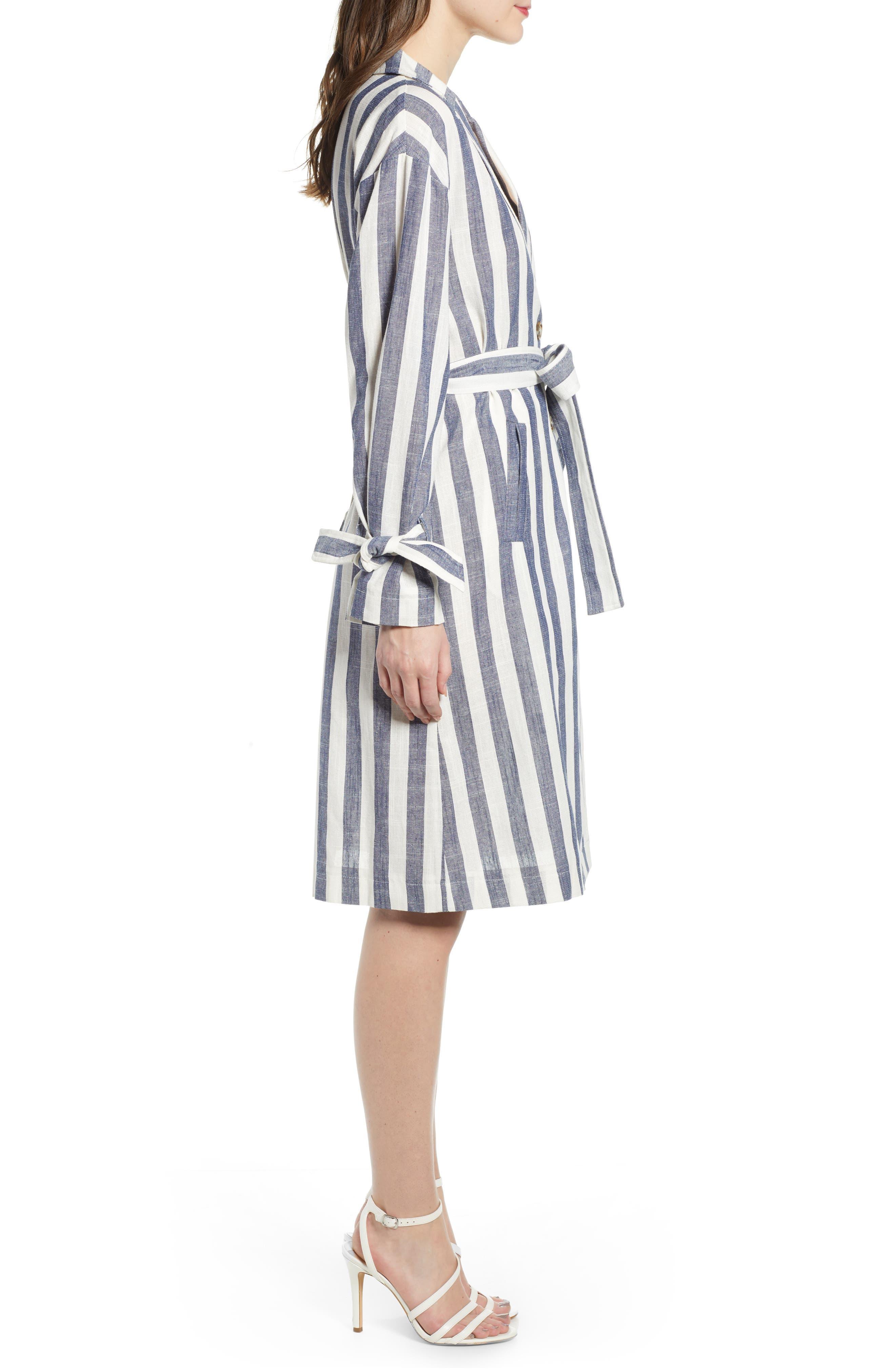 J.O.A., Stripe Cotton & Linen Shirtdress, Alternate thumbnail 4, color, NAVY/ WHITE STRIPE