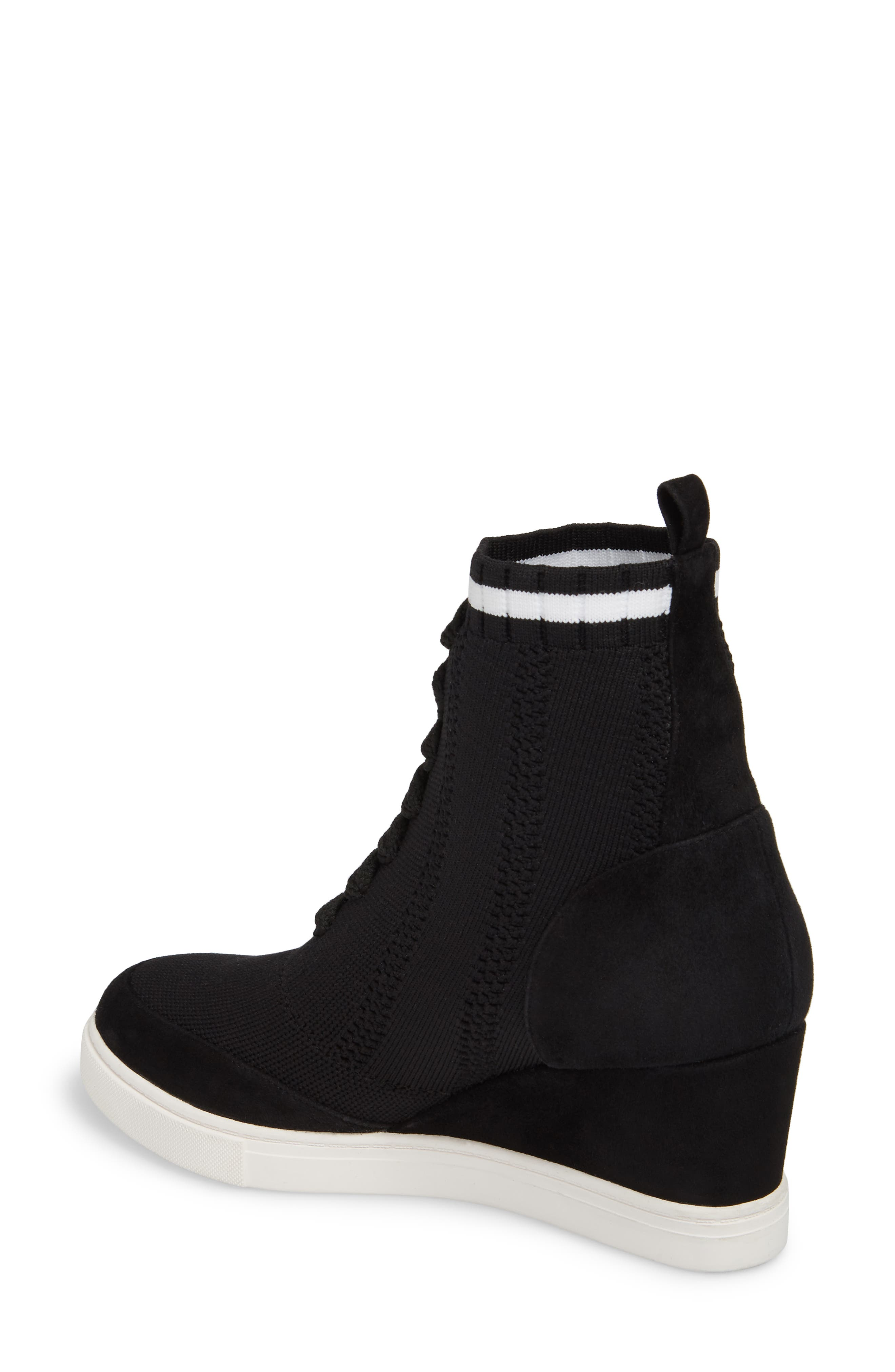 LINEA PAOLO, Fabiana Wedge Sneaker, Alternate thumbnail 2, color, BLACK SUEDE