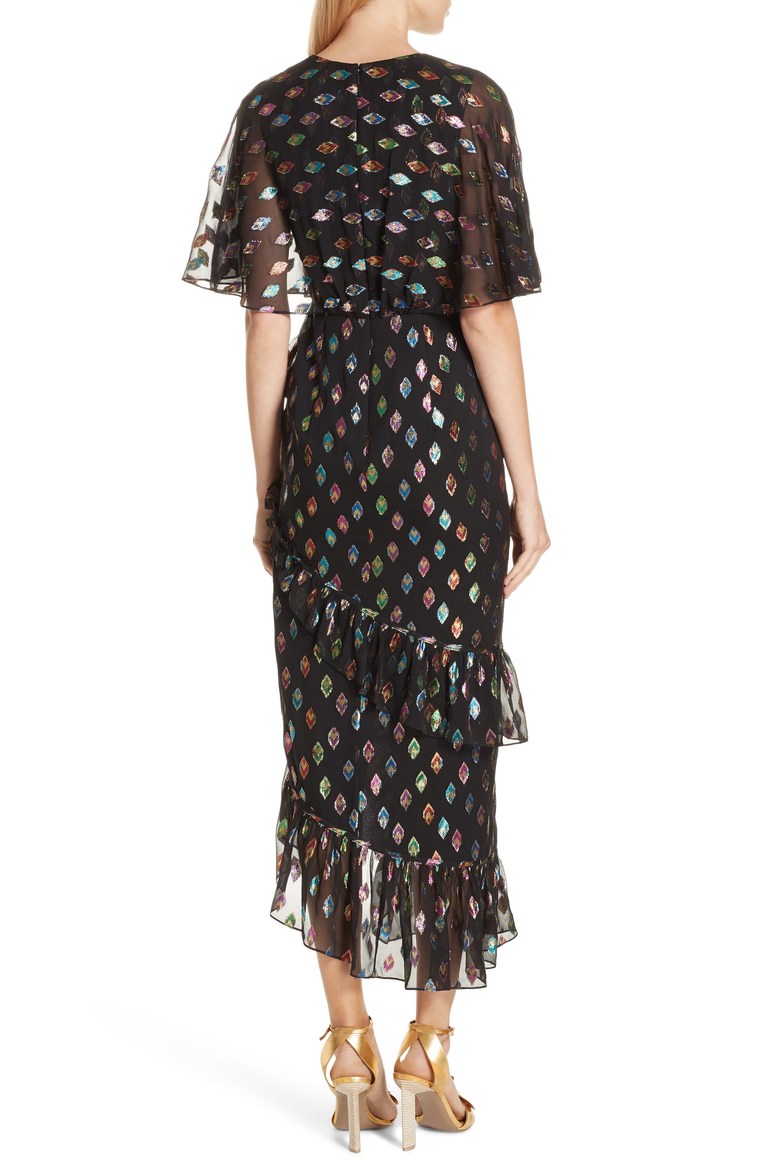 SALONI, Ruffle Hem Silk Blend Dress, Alternate thumbnail 2, color, 003