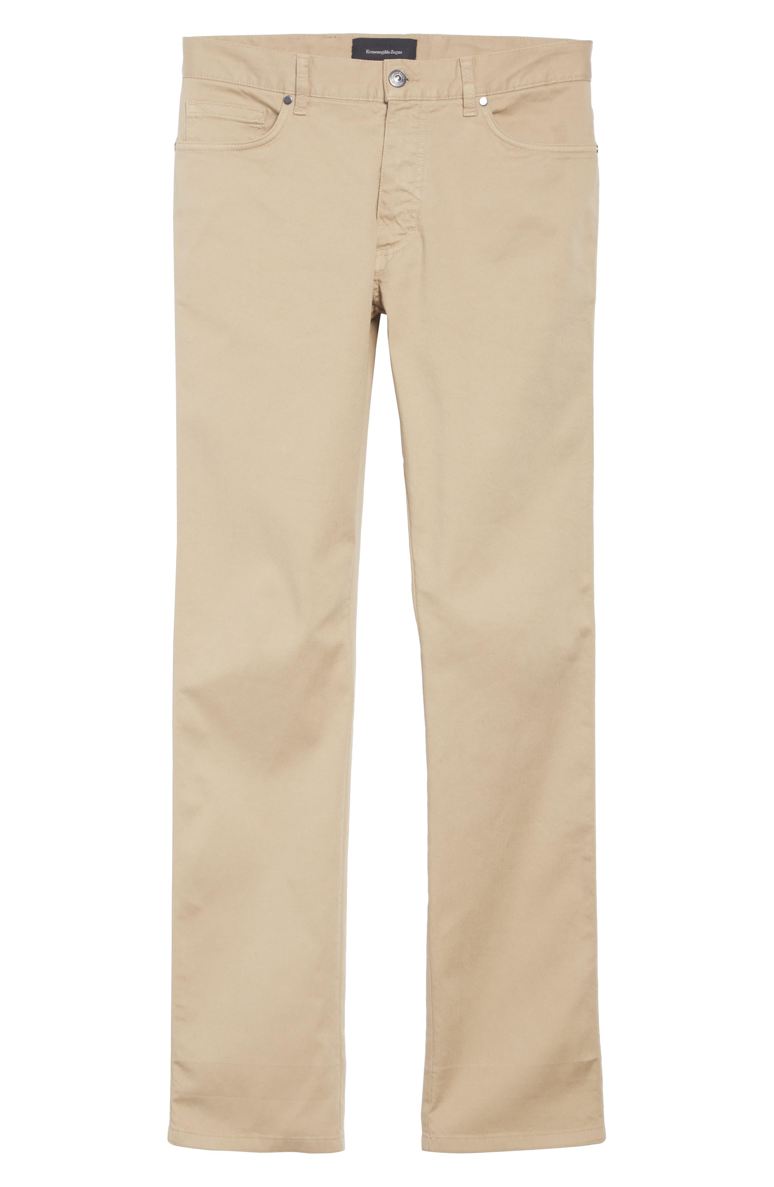 ERMENEGILDO ZEGNA, Stretch Cotton Five Pocket Pants, Alternate thumbnail 7, color, LIGHT BEIGE