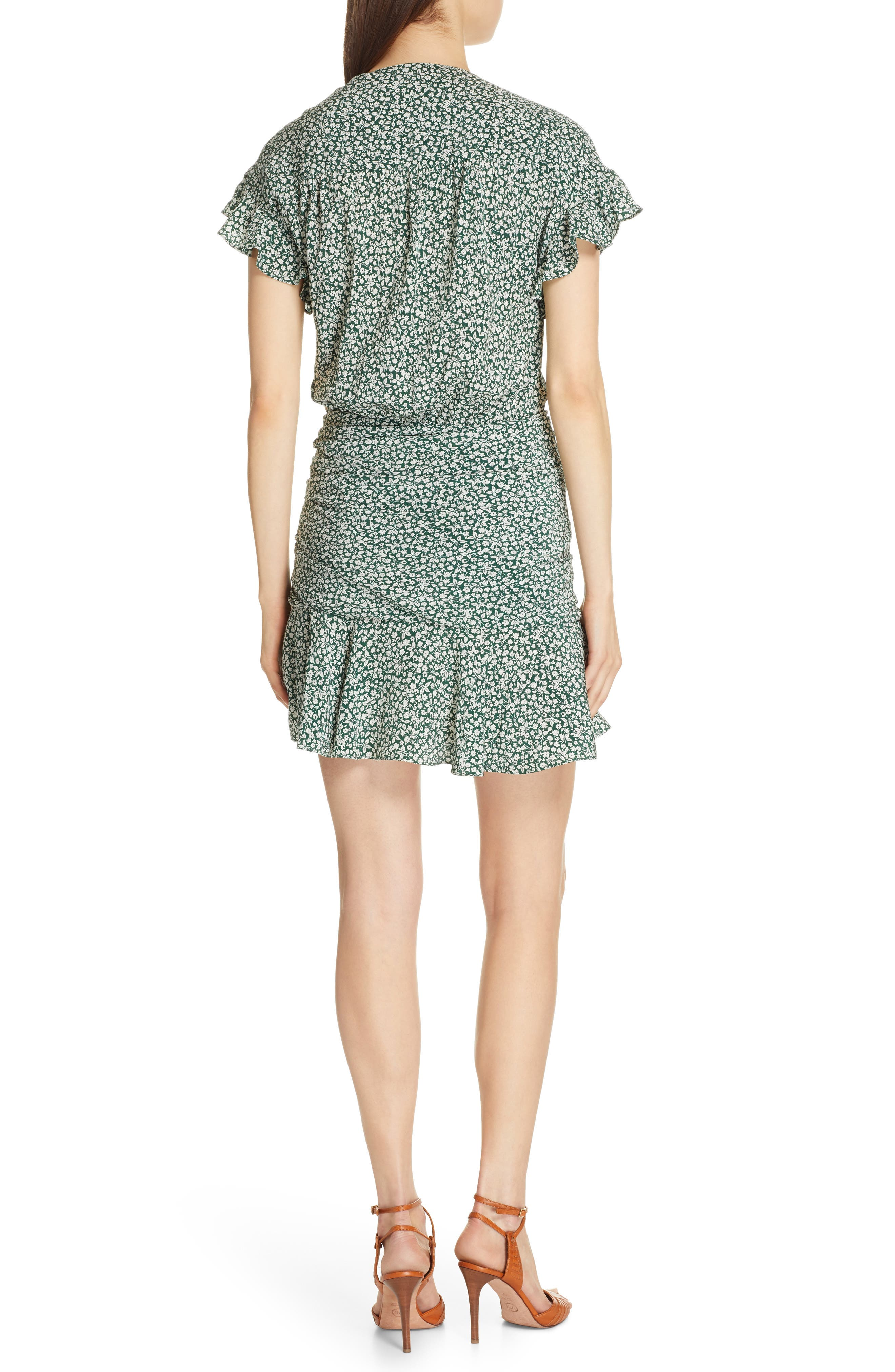 VERONICA BEARD, Marla Tie Ruched Silk Minidress, Alternate thumbnail 2, color, FOREST GREEN