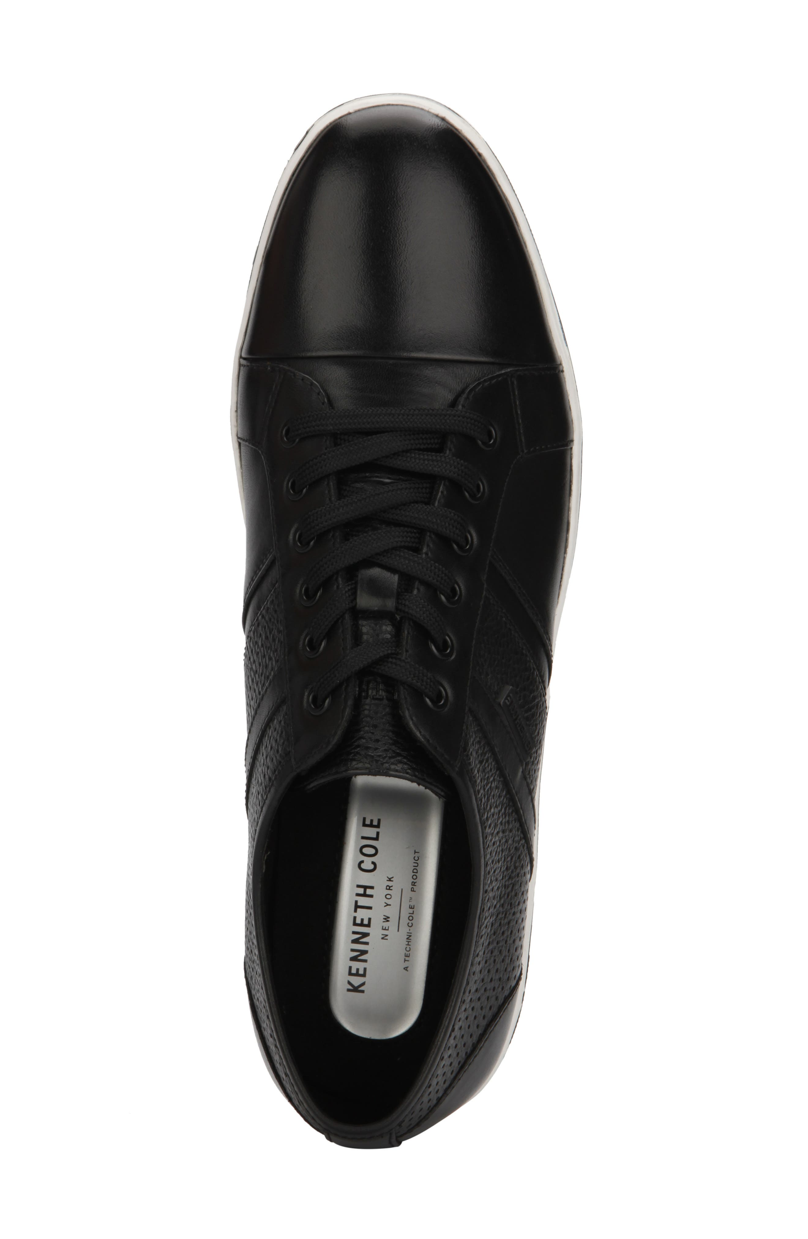 KENNETH COLE NEW YORK, Initial Step Sneaker, Alternate thumbnail 3, color, BLACK LEATHER