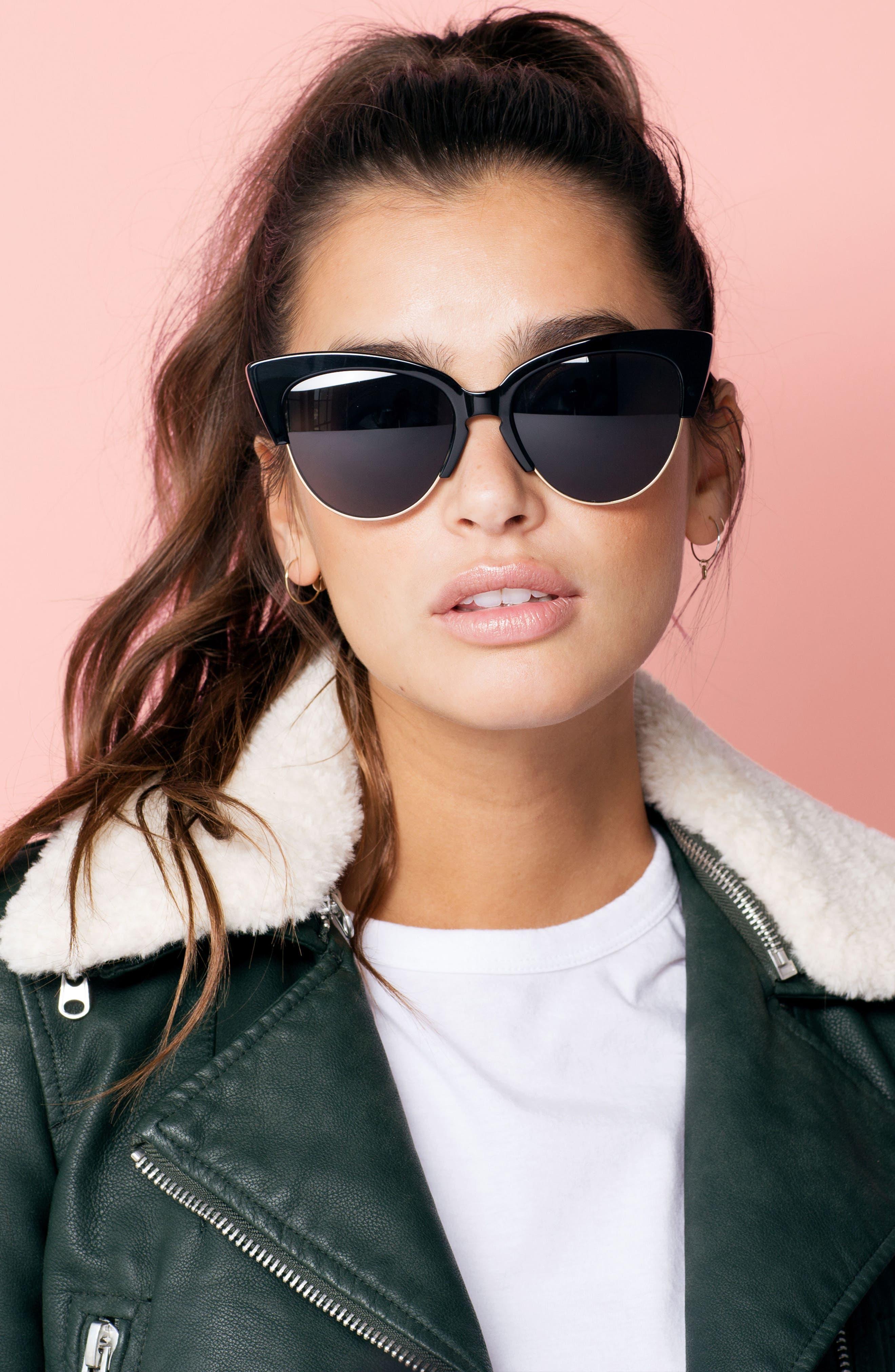SONIX, Dafni 56mm Gradient Cat Eye Sunglasses, Alternate thumbnail 2, color, 001