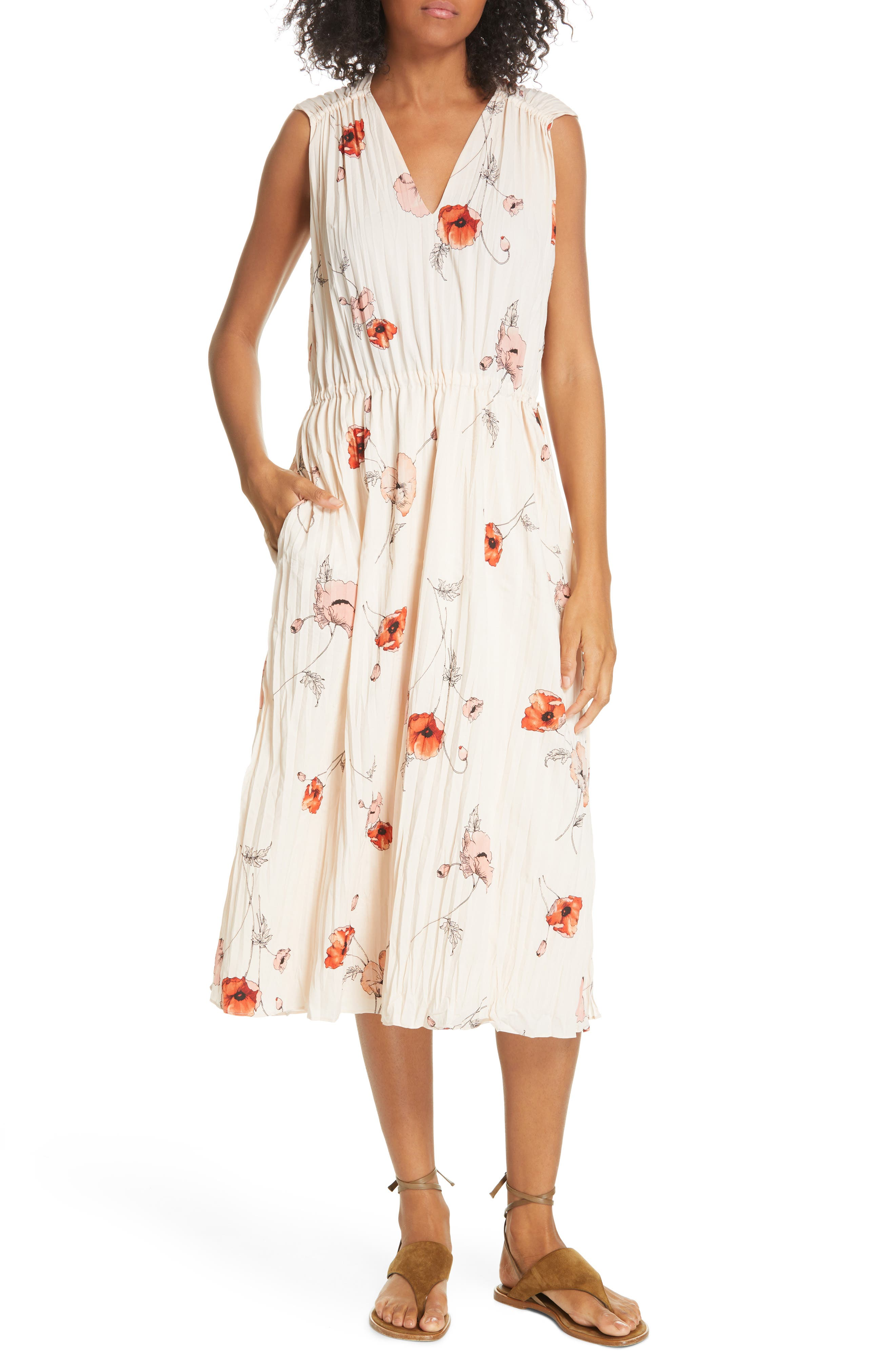 VINCE Tossed Poppy Pleated Midi Dress, Main, color, PALE BLUSH