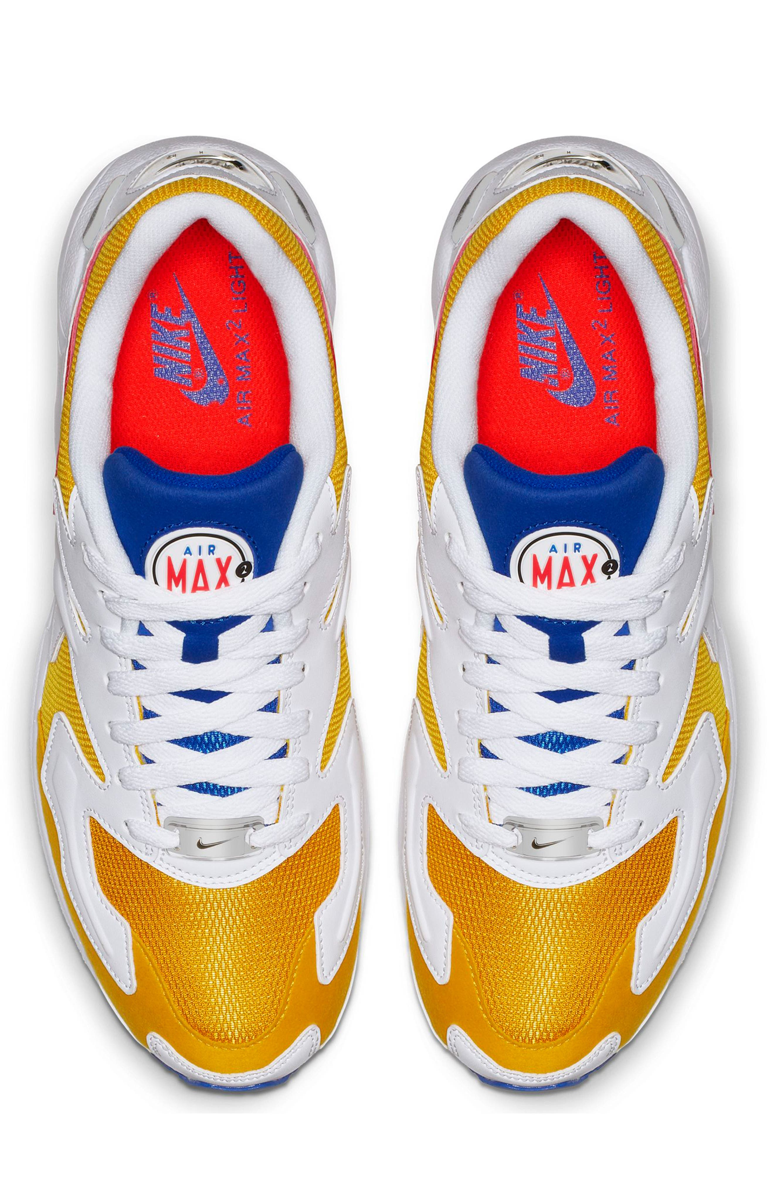 NIKE, Air Max2 Light Sneaker, Alternate thumbnail 4, color, GOLD CRIMSON/ BLUE