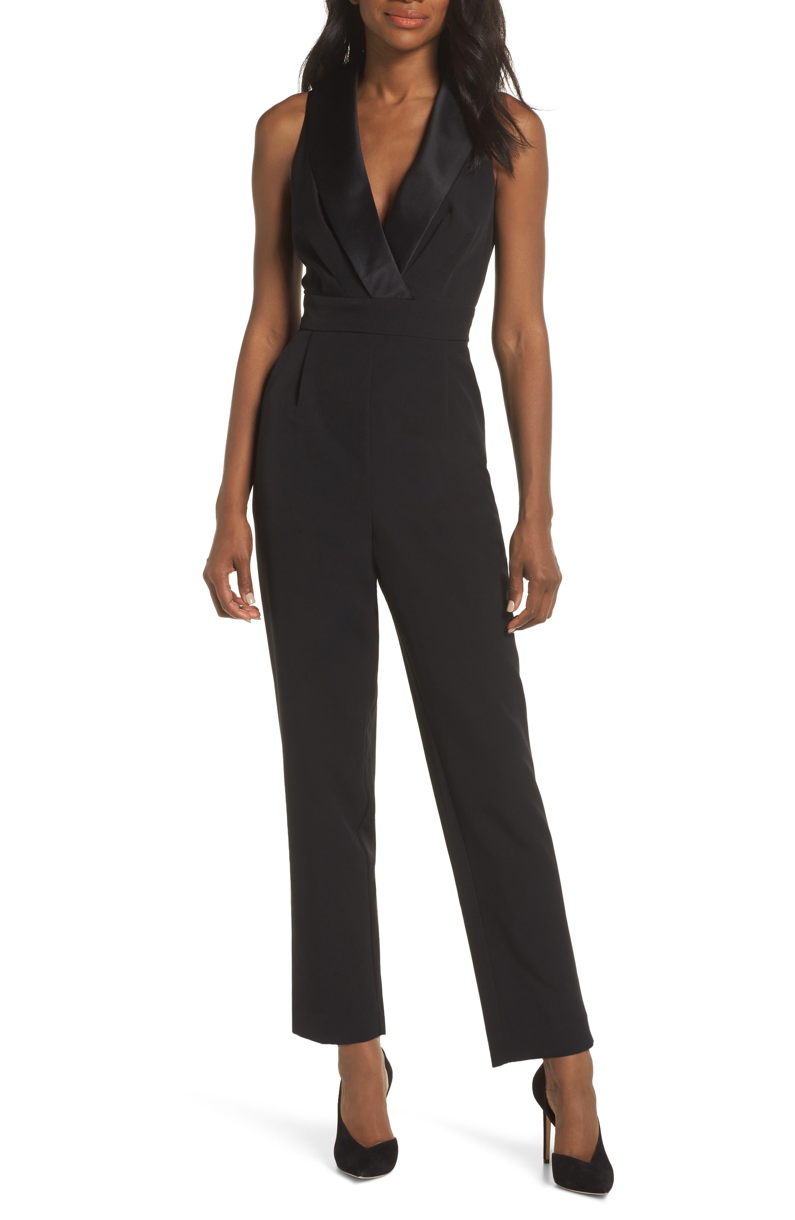ELIZA J, Tuxedo Jumpsuit, Main thumbnail 1, color, BLACK