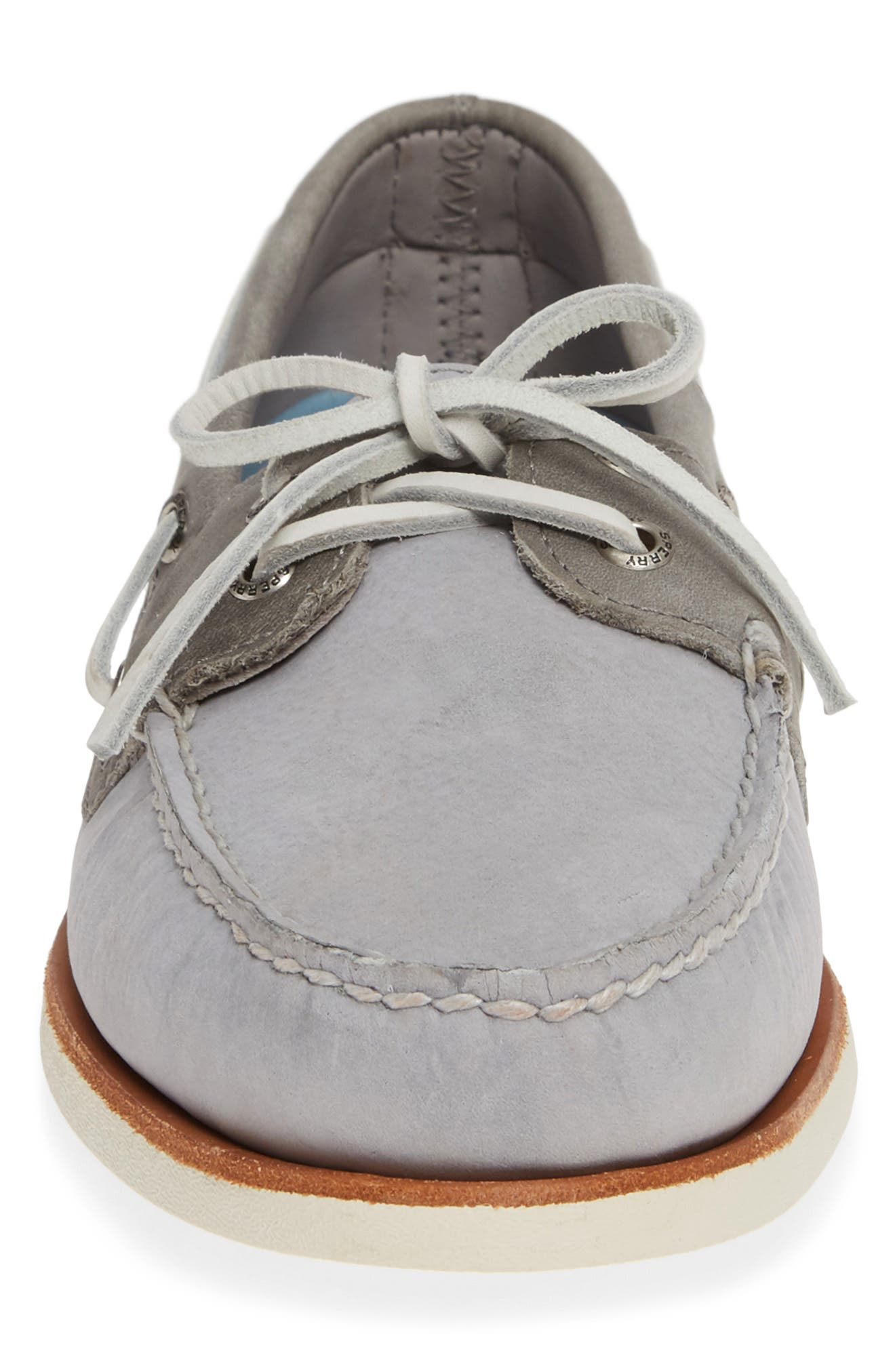 SPERRY, 'Gold Cup - Authentic Original' Boat Shoe, Alternate thumbnail 4, color, GREY/GREY LEATHER