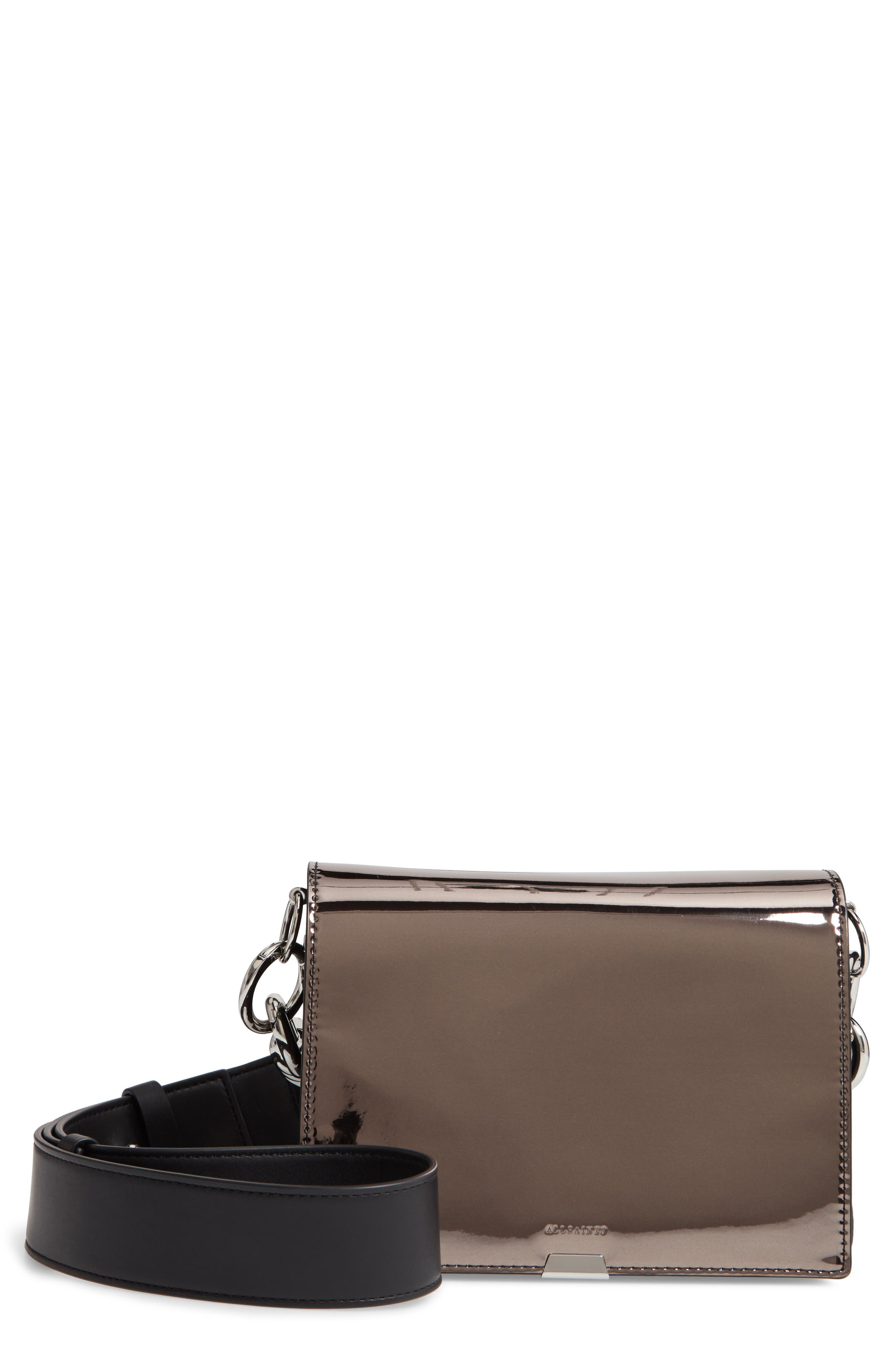 ALLSAINTS, Captain Mirror Flap Leather Shoulder Bag, Main thumbnail 1, color, GUNMETAL